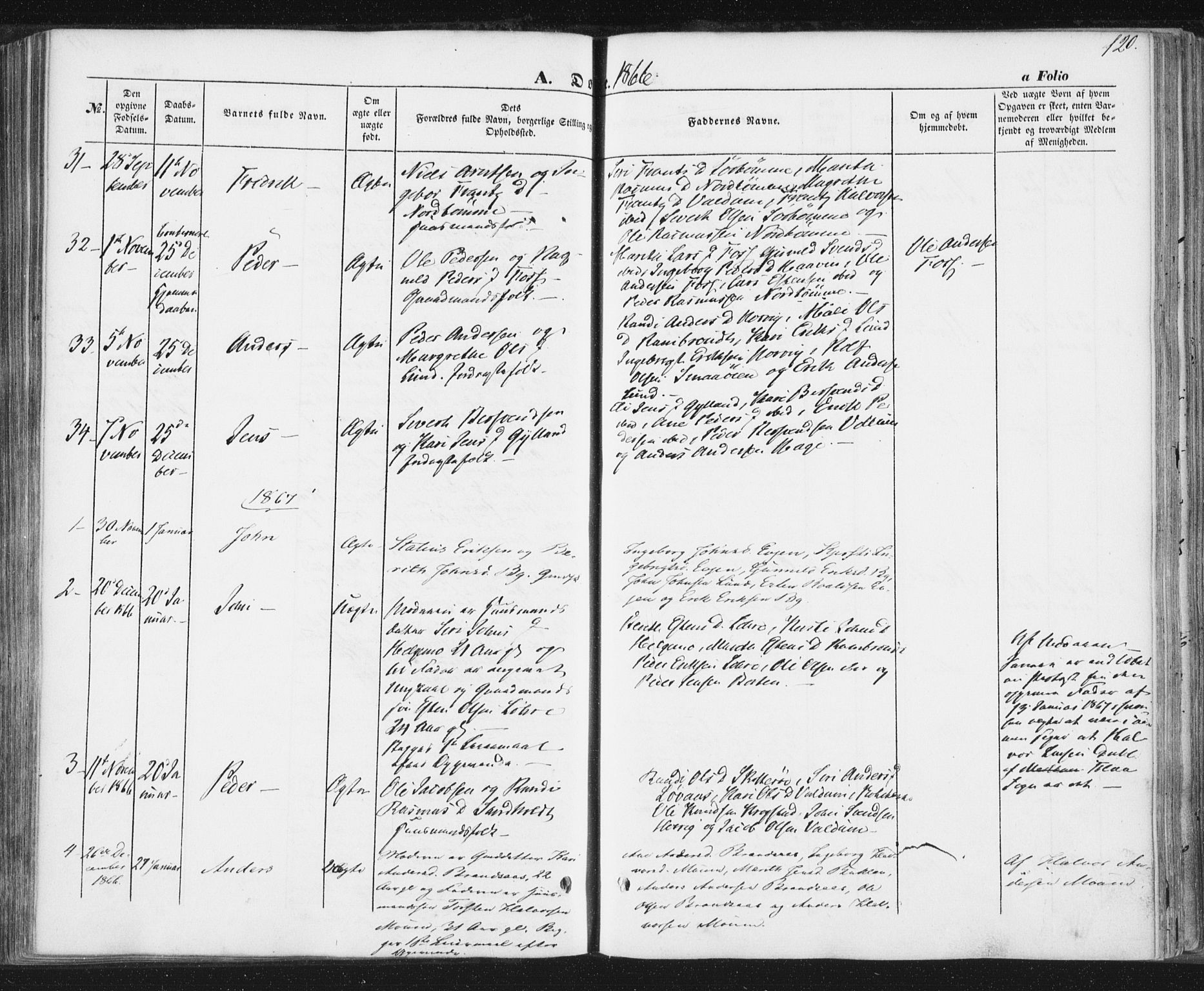 SAT, Ministerialprotokoller, klokkerbøker og fødselsregistre - Sør-Trøndelag, 692/L1103: Ministerialbok nr. 692A03, 1849-1870, s. 120