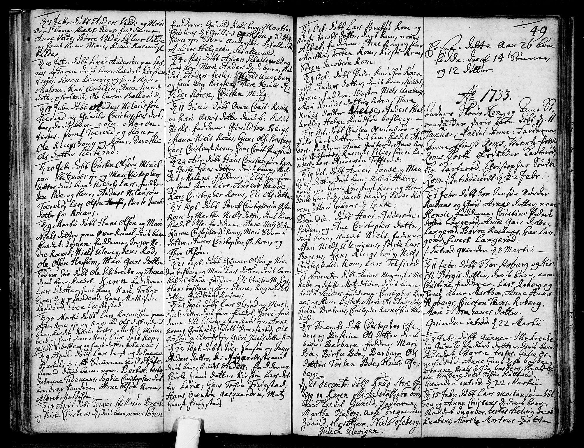 SAKO, Sem kirkebøker, F/Fb/L0001: Ministerialbok nr. II 1, 1702-1764, s. 49