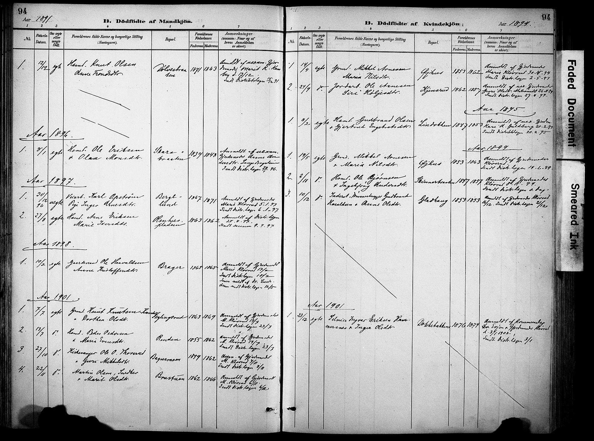 SAH, Sør-Aurdal prestekontor, Ministerialbok nr. 9, 1886-1906, s. 94