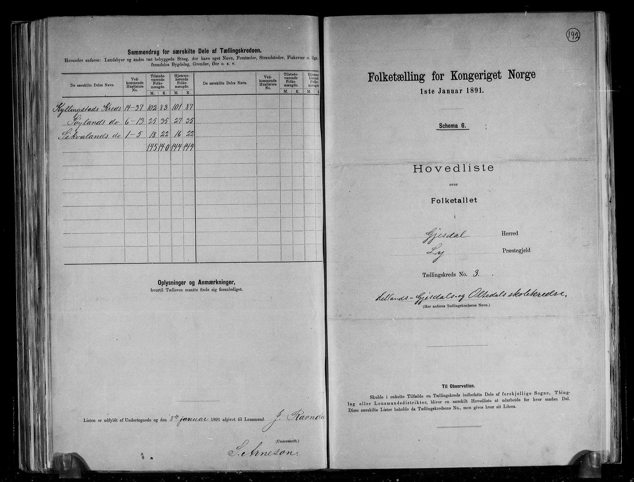 RA, Folketelling 1891 for 1122 Gjesdal herred, 1891, s. 11