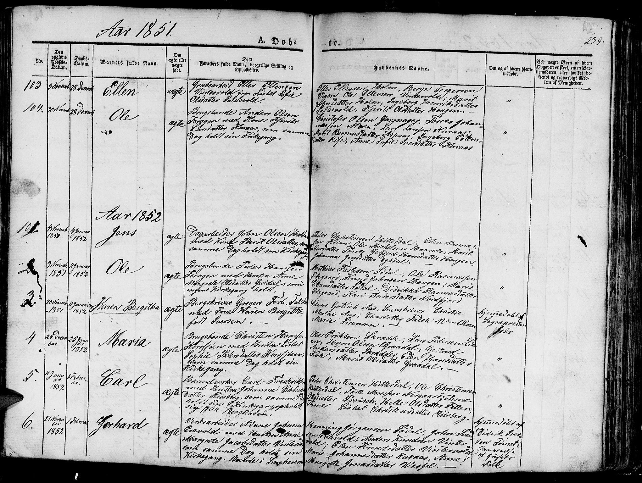 SAT, Ministerialprotokoller, klokkerbøker og fødselsregistre - Sør-Trøndelag, 681/L0938: Klokkerbok nr. 681C02, 1829-1879, s. 239