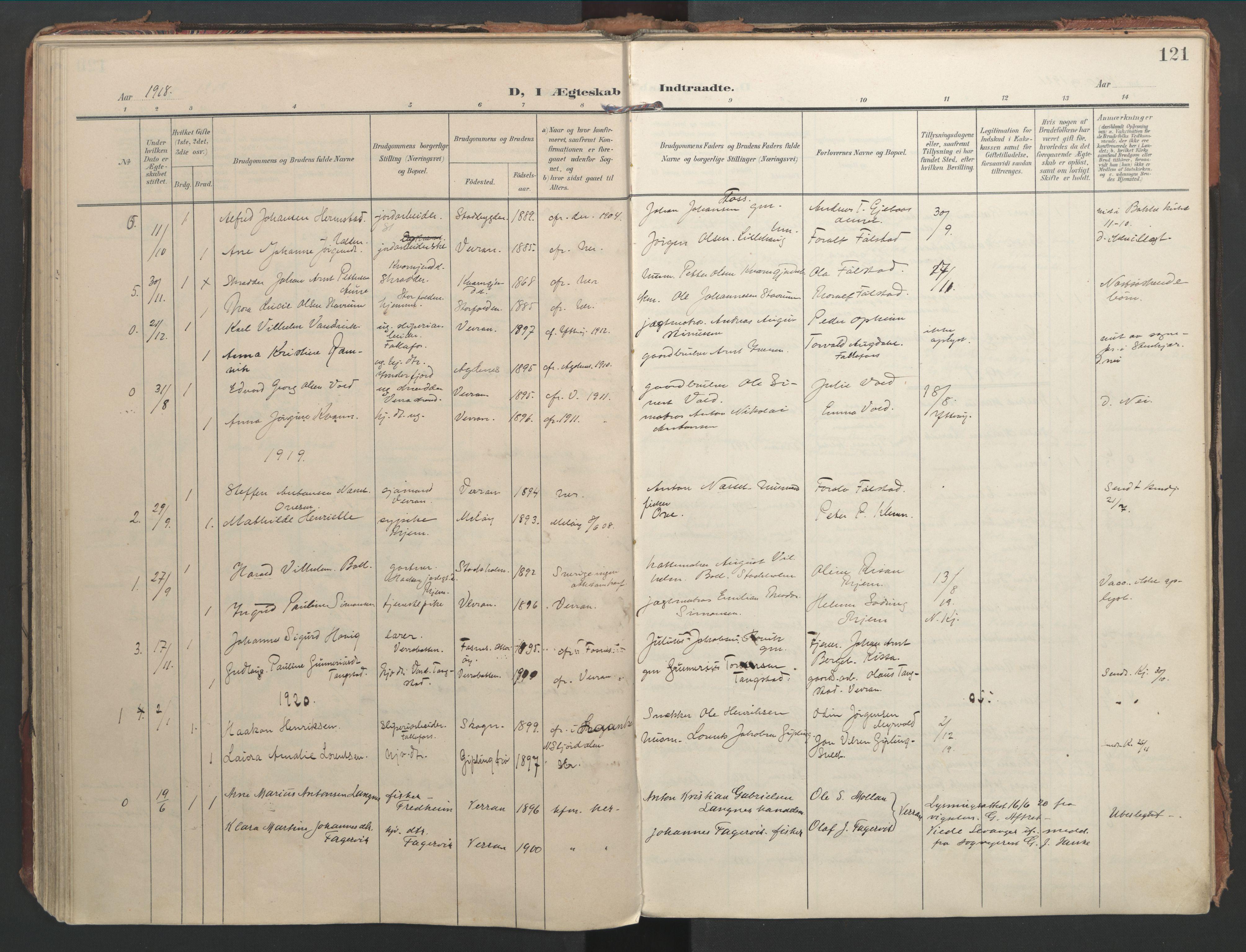 SAT, Ministerialprotokoller, klokkerbøker og fødselsregistre - Nord-Trøndelag, 744/L0421: Ministerialbok nr. 744A05, 1905-1930, s. 121