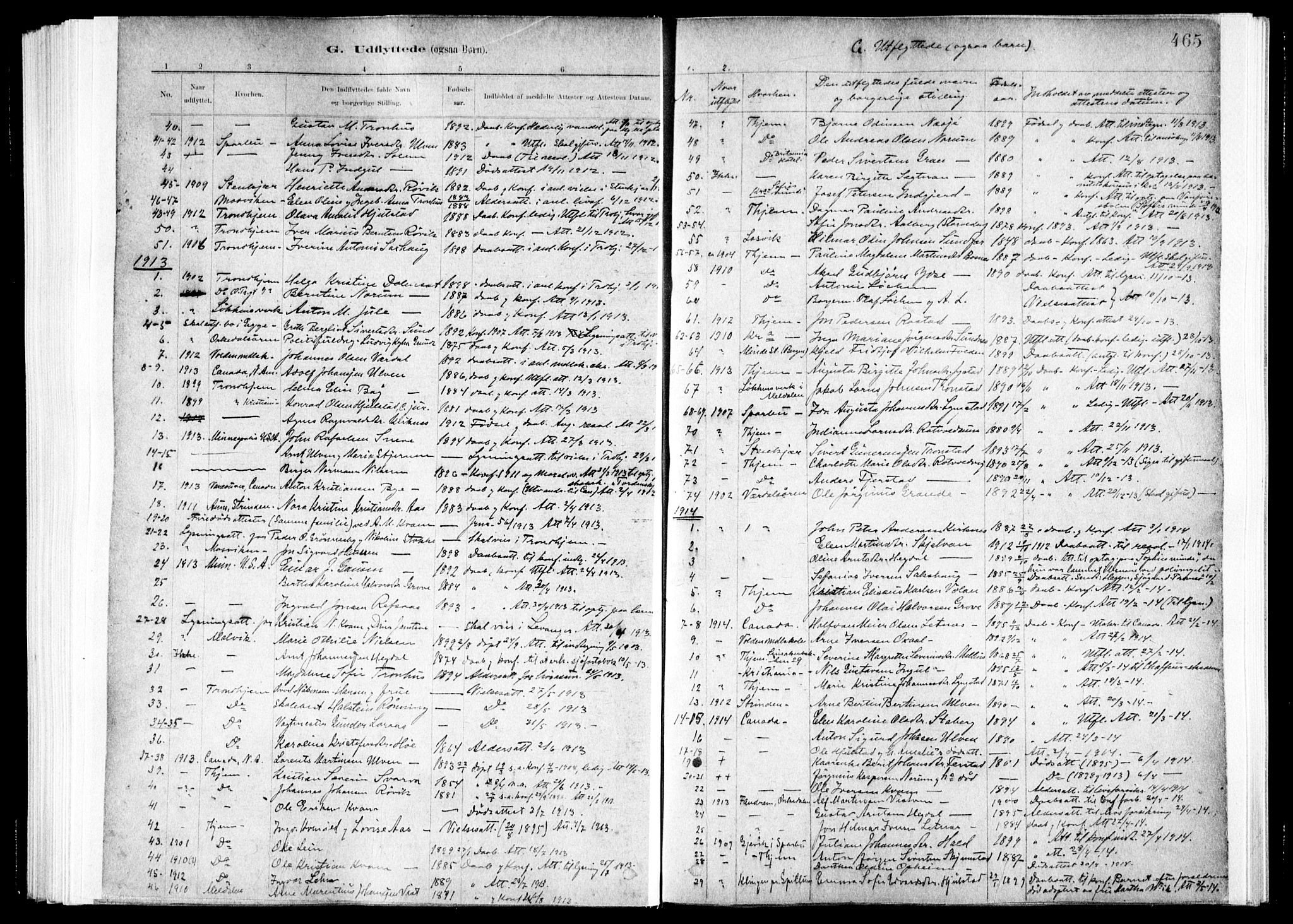 SAT, Ministerialprotokoller, klokkerbøker og fødselsregistre - Nord-Trøndelag, 730/L0285: Ministerialbok nr. 730A10, 1879-1914, s. 465