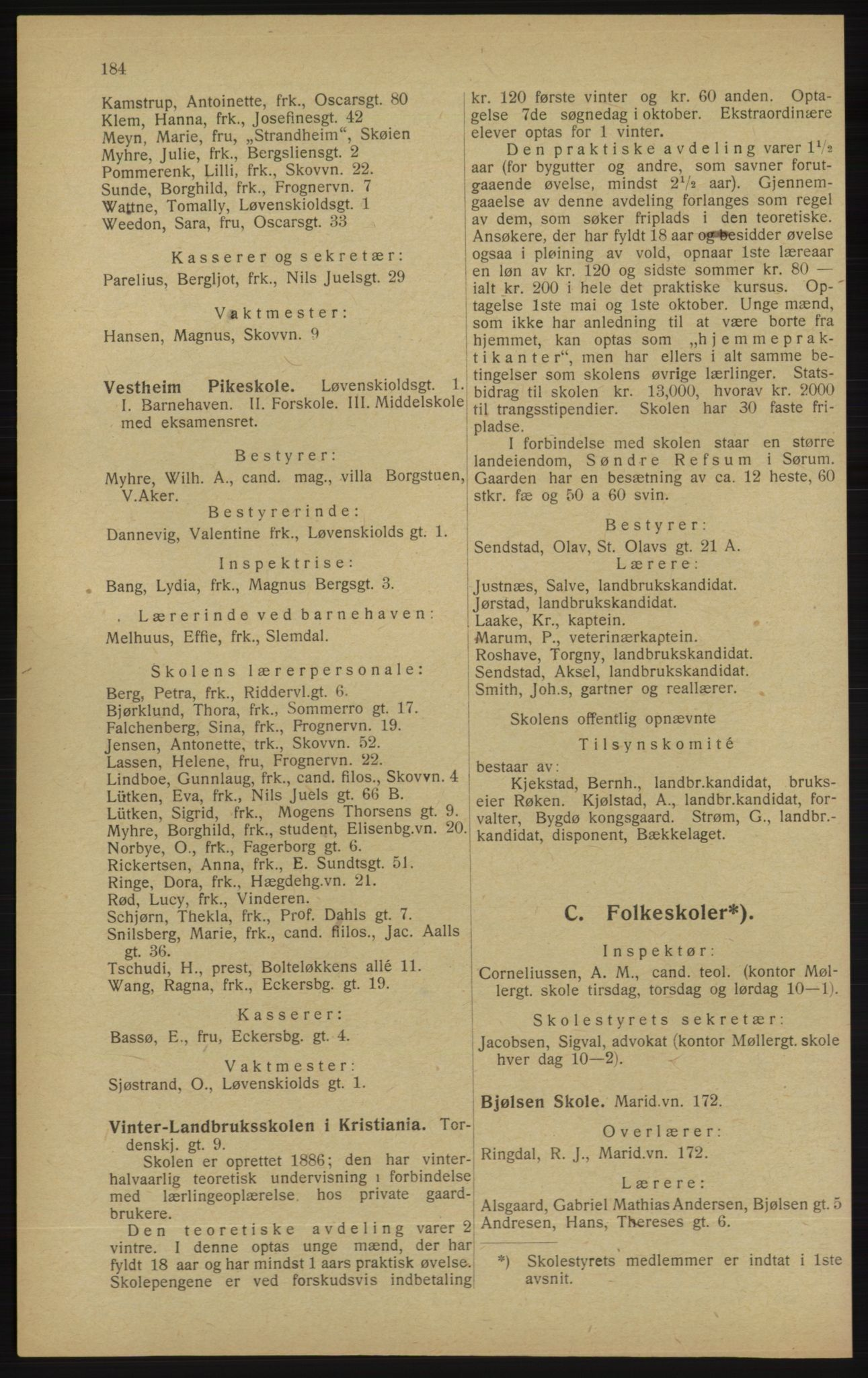 RA, Kristiania adressebok (publikasjon)*, 1913, s. 184