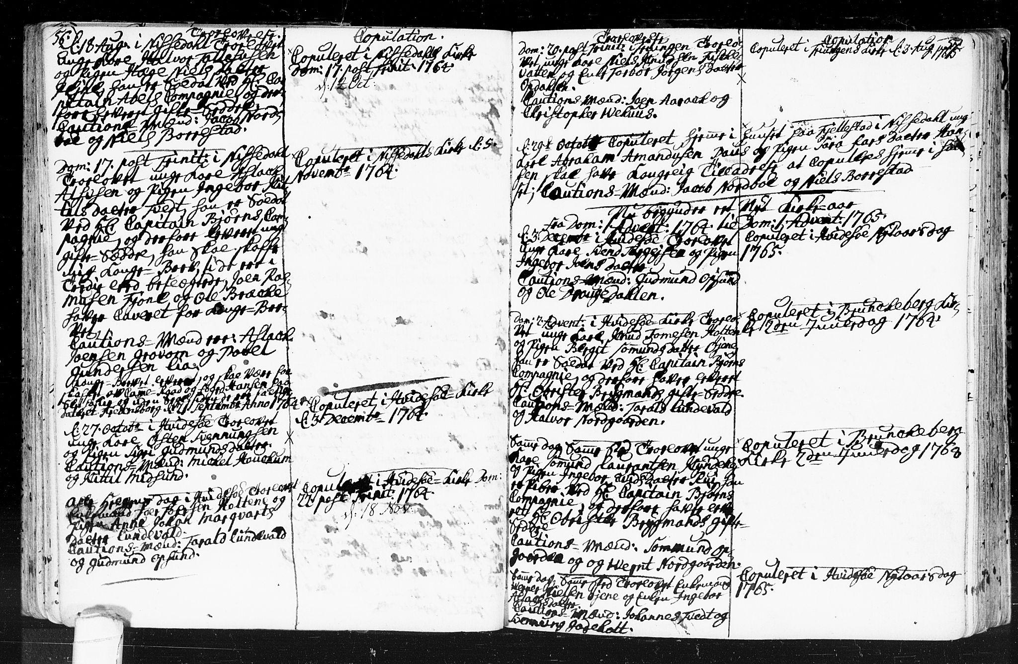 SAKO, Kviteseid kirkebøker, F/Fa/L0001: Ministerialbok nr. I 1, 1754-1773, s. 56-57
