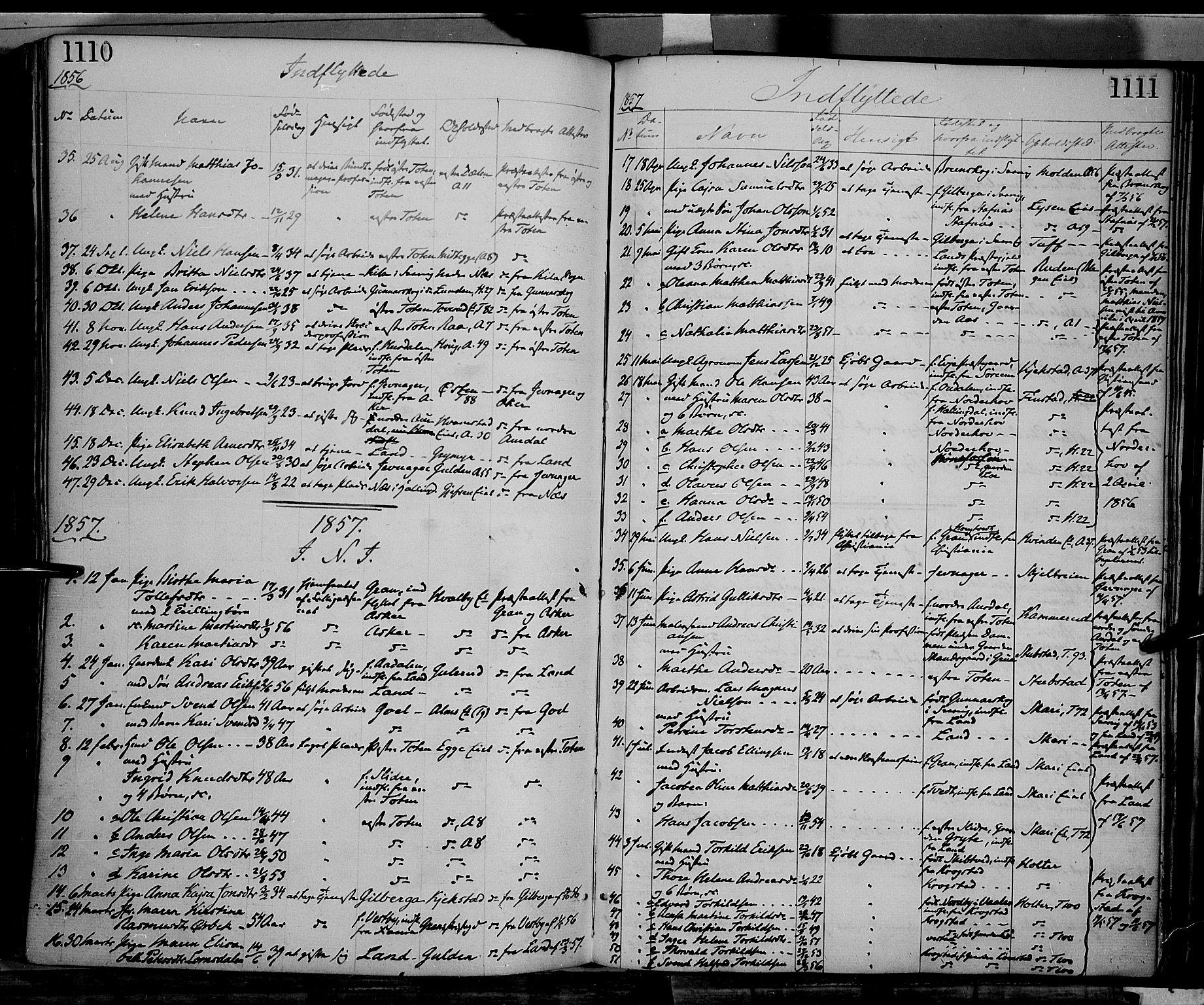 SAH, Gran prestekontor, Ministerialbok nr. 12, 1856-1874, s. 1110-1111