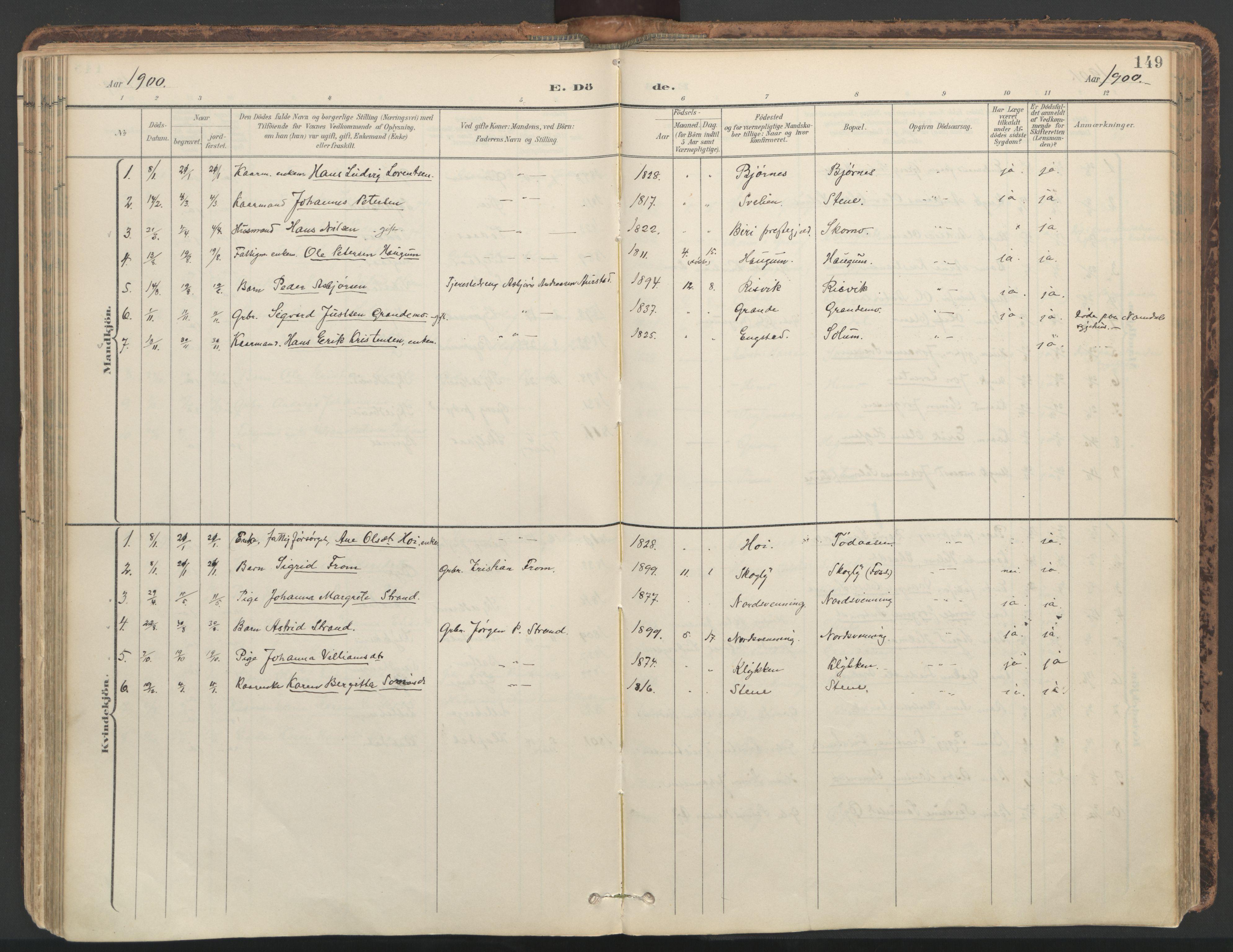 SAT, Ministerialprotokoller, klokkerbøker og fødselsregistre - Nord-Trøndelag, 764/L0556: Ministerialbok nr. 764A11, 1897-1924, s. 149