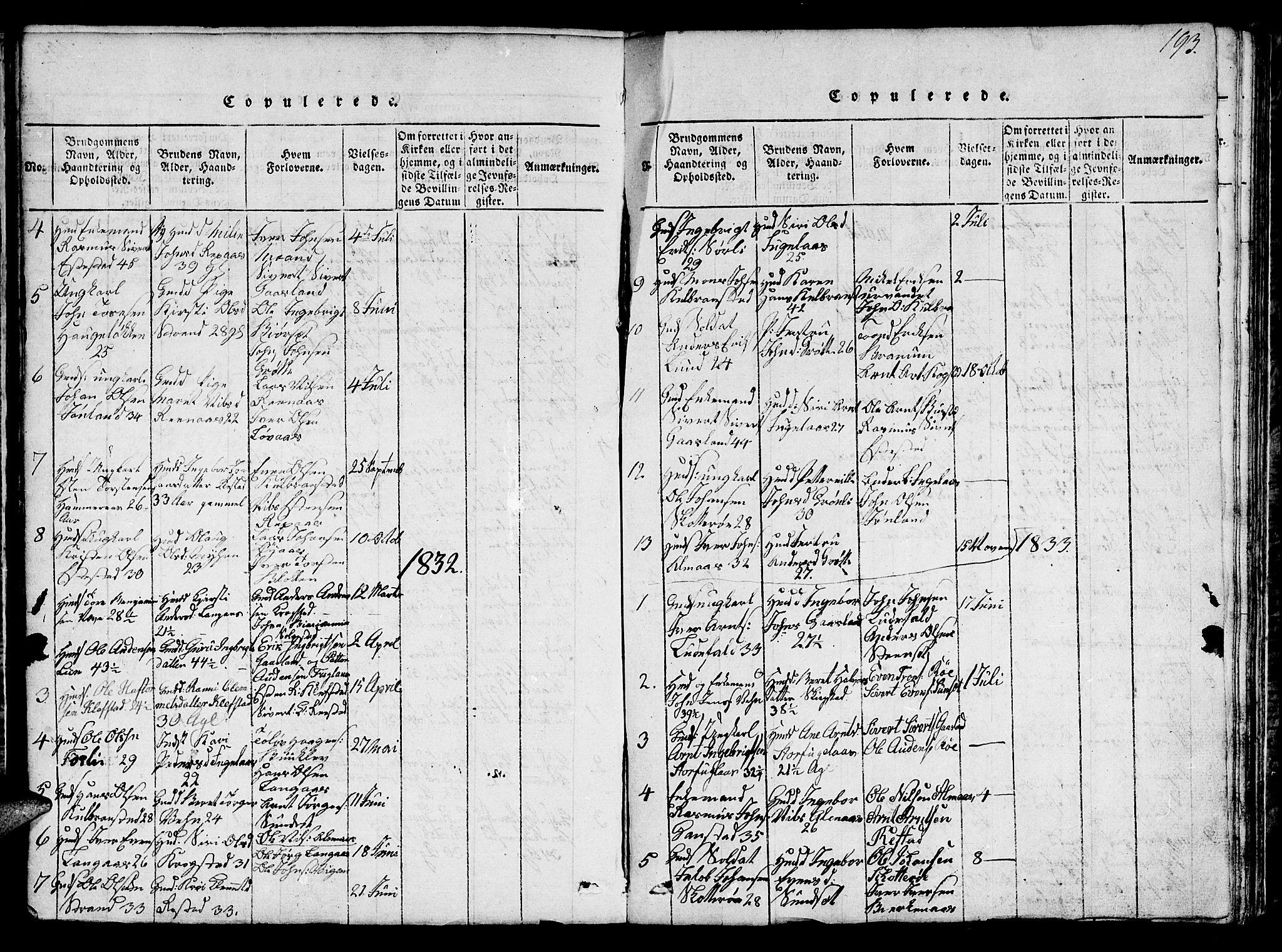 SAT, Ministerialprotokoller, klokkerbøker og fødselsregistre - Sør-Trøndelag, 694/L1130: Klokkerbok nr. 694C02, 1816-1857, s. 193