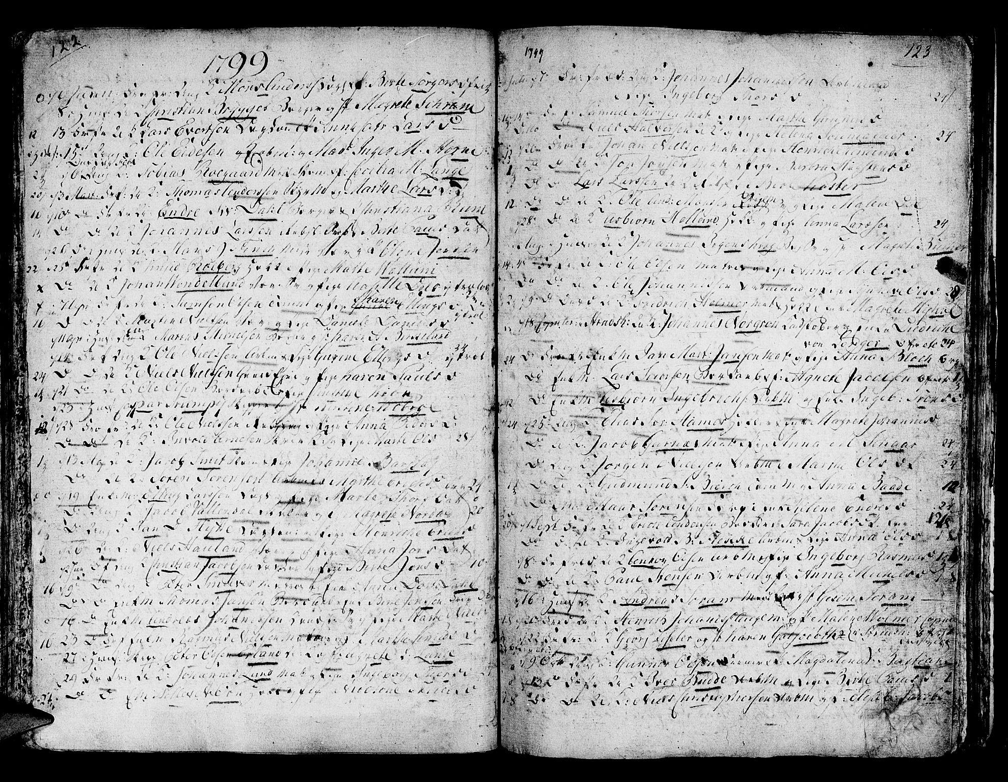 SAB, Domkirken Sokneprestembete, H/Haa/L0007: Ministerialbok nr. A 7, 1725-1826, s. 122-123