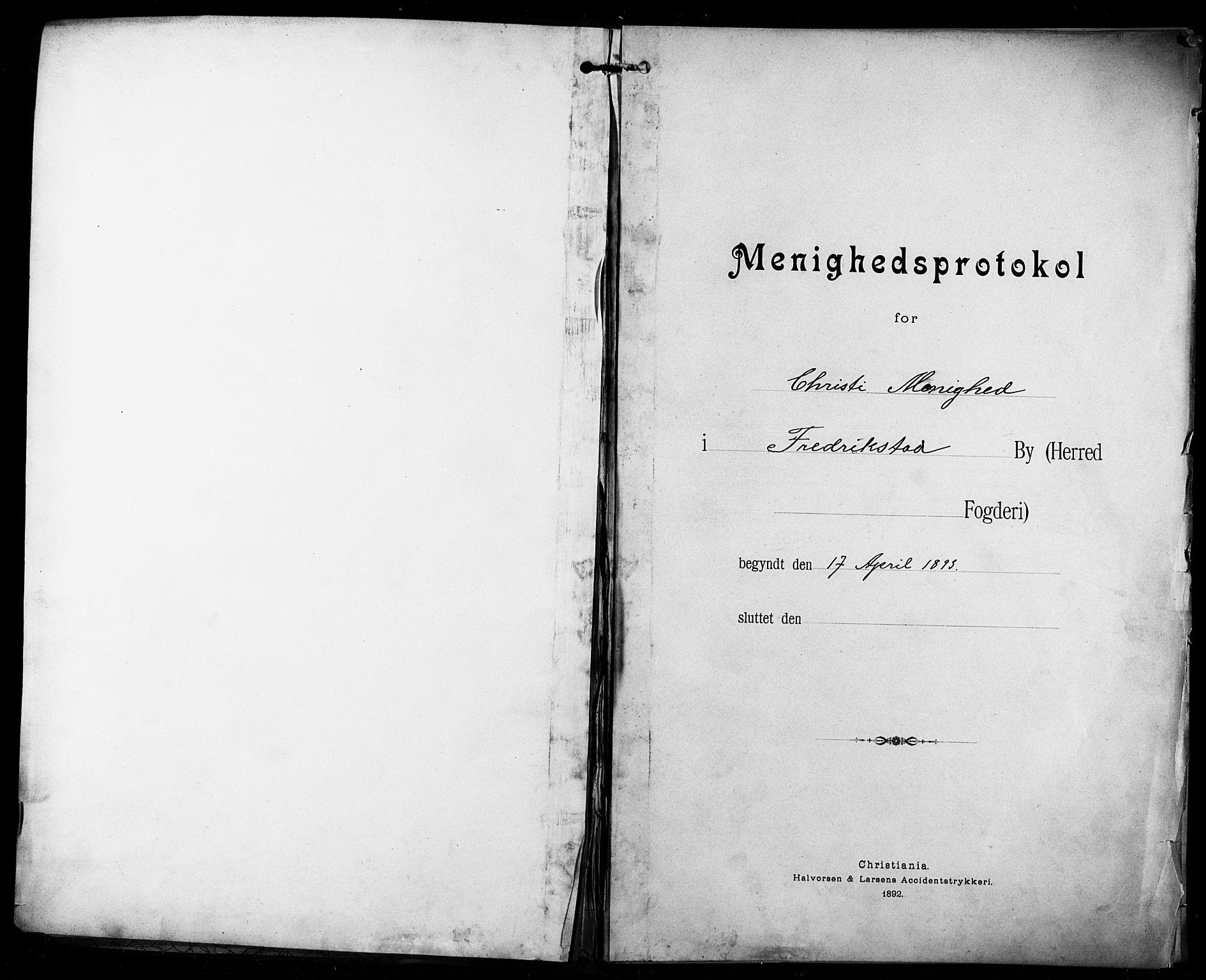 SAO, Kristi menighet Fredrikstad , A/L0001: Dissenterprotokoll nr. 1, 1893-1914