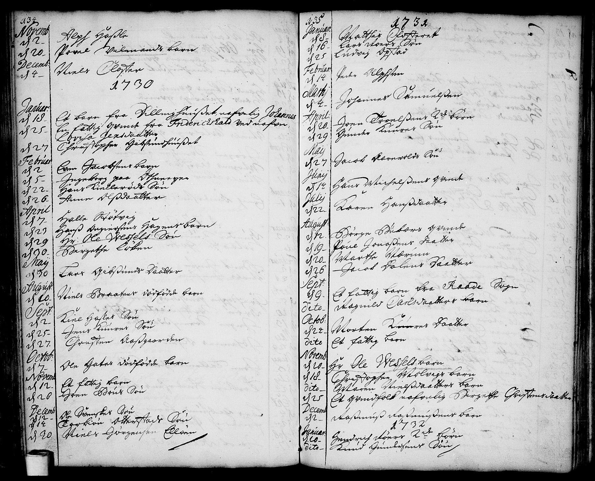 SAO, Rygge prestekontor Kirkebøker, F/Fa/L0001: Ministerialbok nr. 1, 1725-1771, s. 134-135