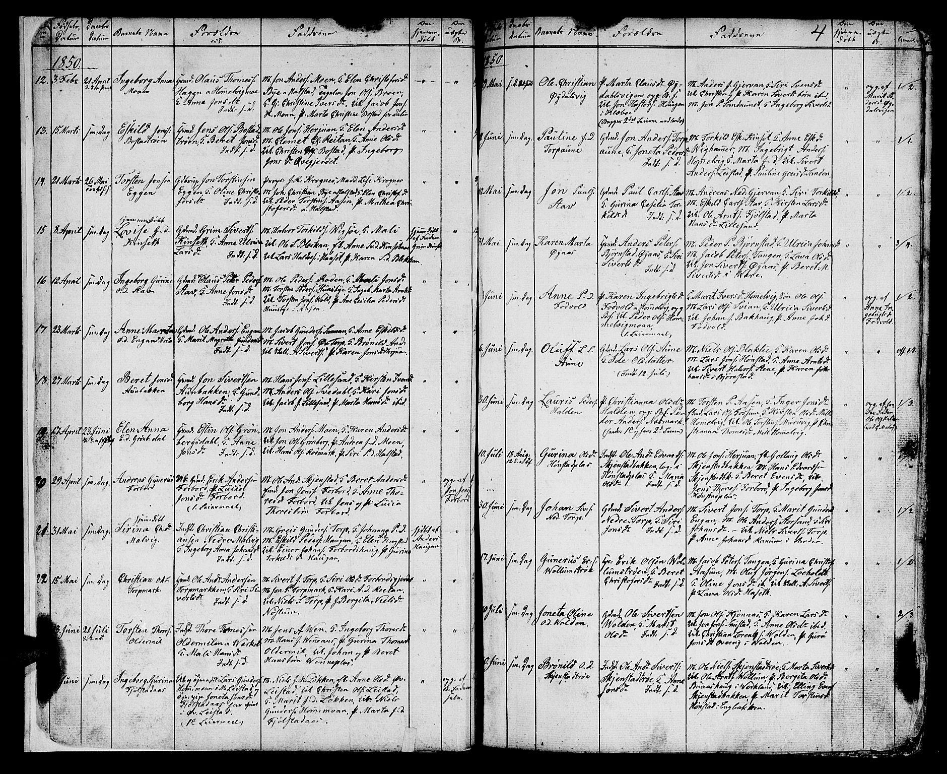 SAT, Ministerialprotokoller, klokkerbøker og fødselsregistre - Sør-Trøndelag, 616/L0422: Klokkerbok nr. 616C05, 1850-1888, s. 2