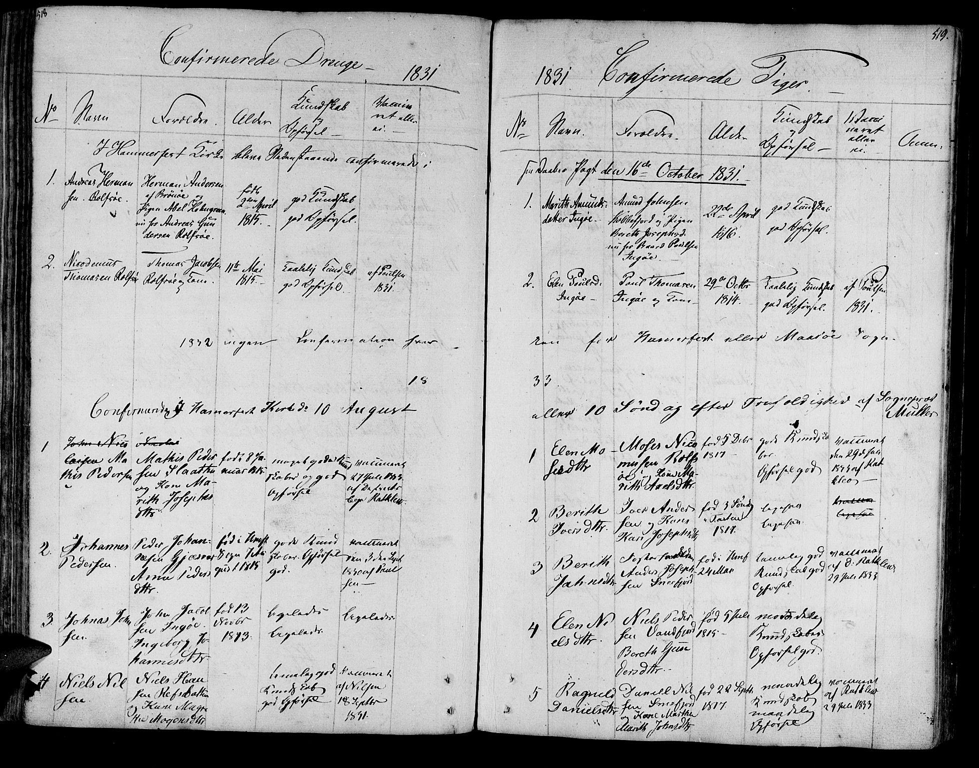 SATØ, Måsøy sokneprestkontor, H/Ha/L0001kirke: Ministerialbok nr. 1, 1806-1851, s. 518-519