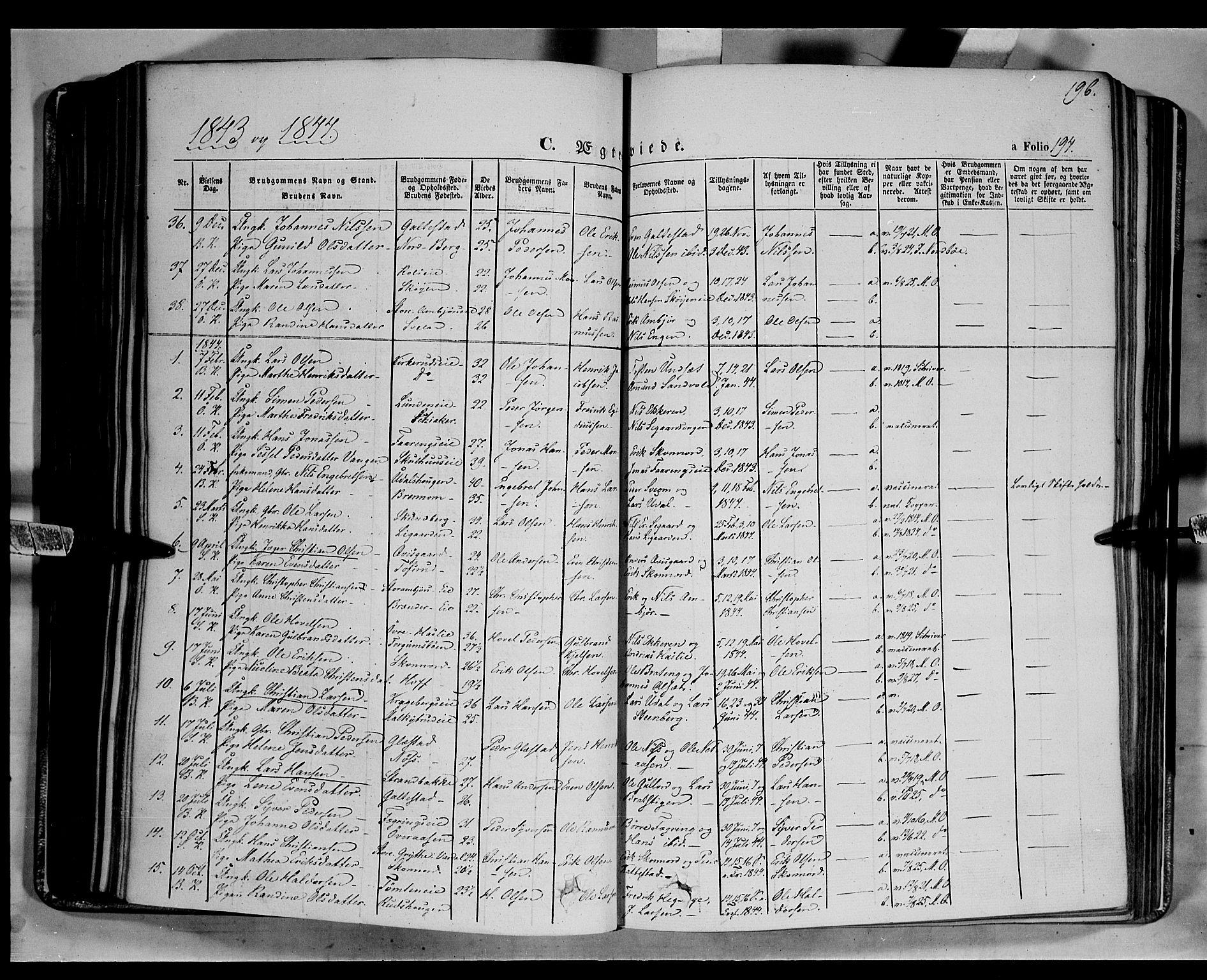 SAH, Biri prestekontor, Ministerialbok nr. 5, 1843-1854, s. 196