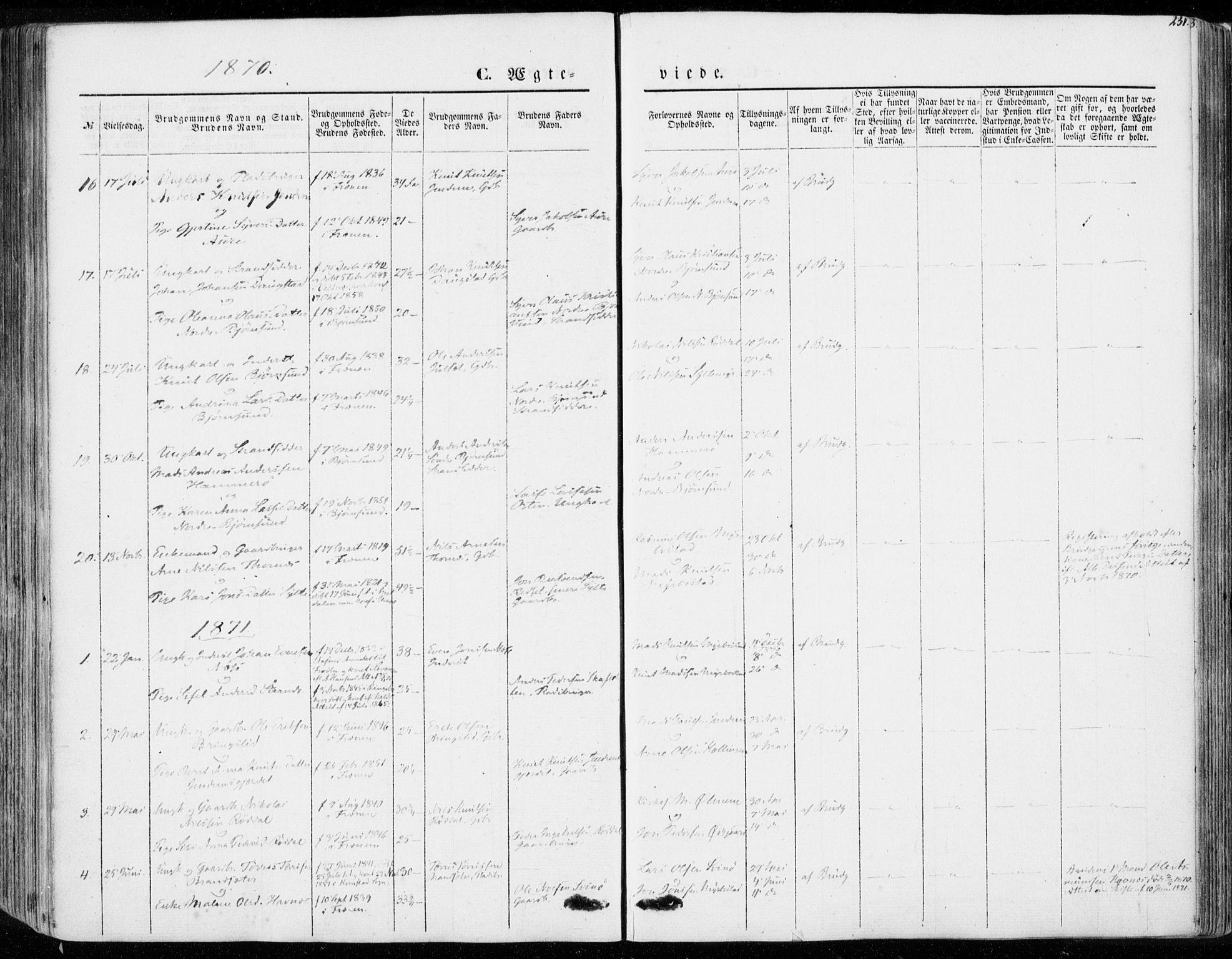 SAT, Ministerialprotokoller, klokkerbøker og fødselsregistre - Møre og Romsdal, 565/L0748: Ministerialbok nr. 565A02, 1845-1872, s. 231