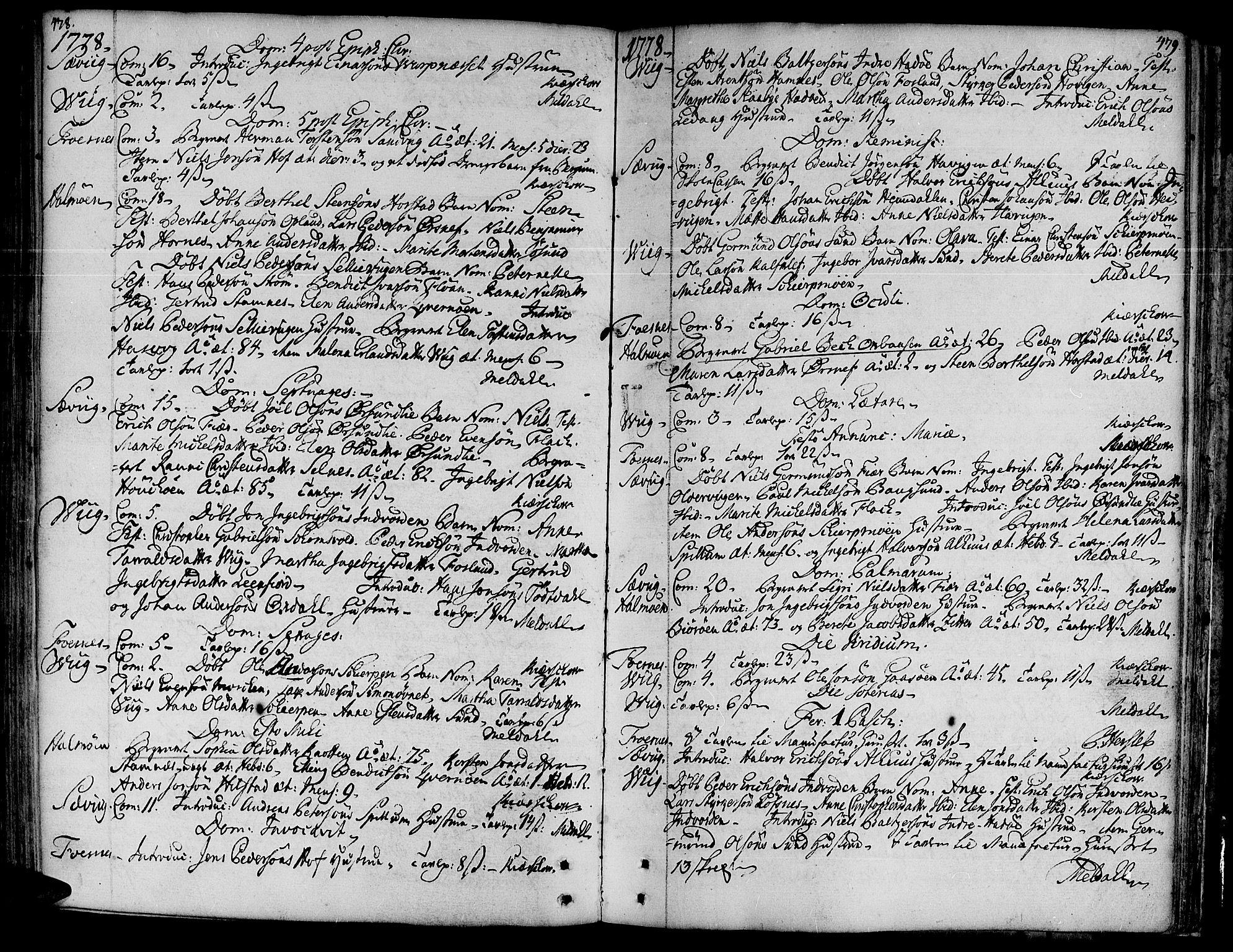 SAT, Ministerialprotokoller, klokkerbøker og fødselsregistre - Nord-Trøndelag, 773/L0607: Ministerialbok nr. 773A01, 1751-1783, s. 478-479