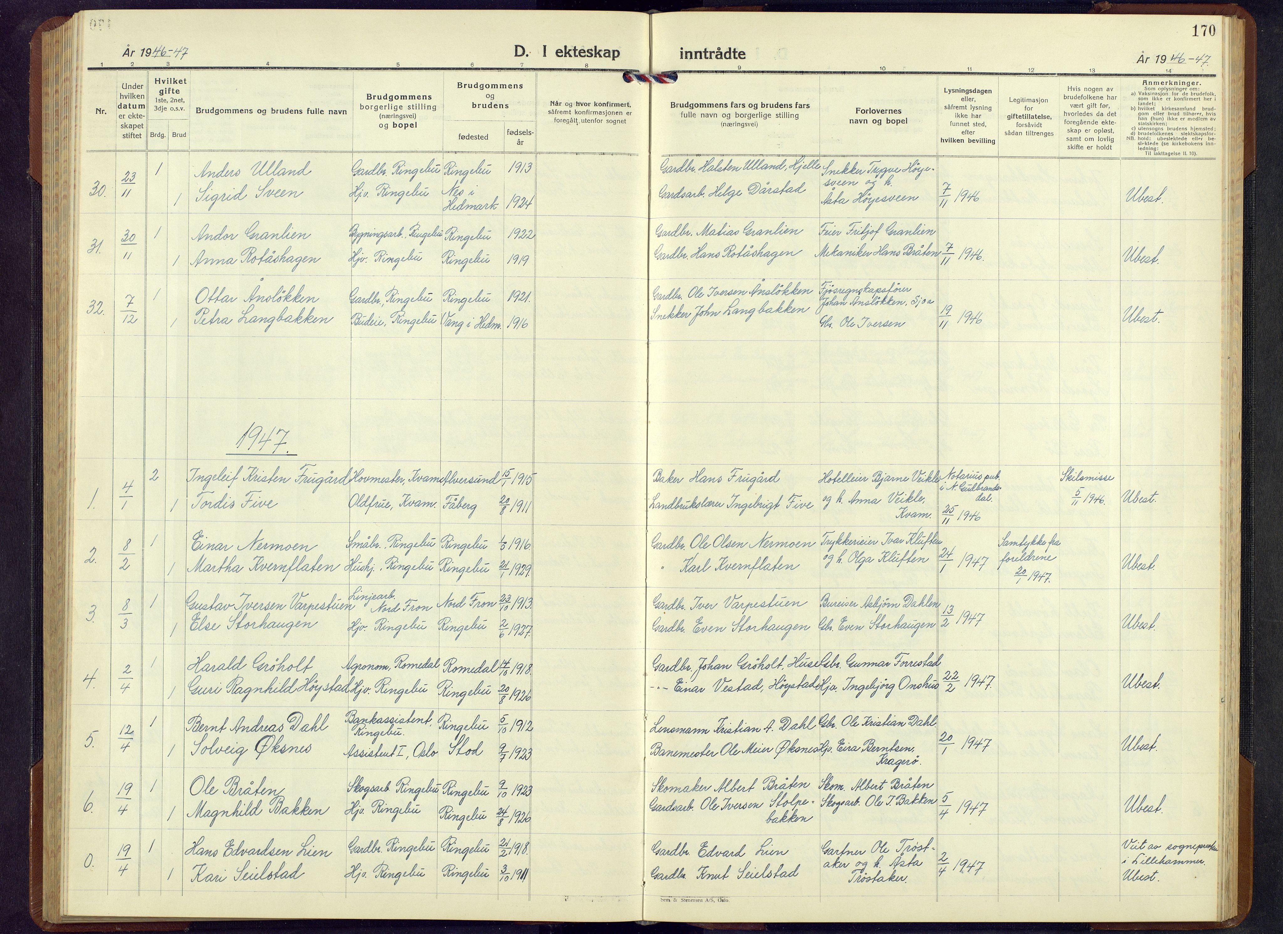 SAH, Ringebu prestekontor, Klokkerbok nr. 13, 1943-1956, s. 170