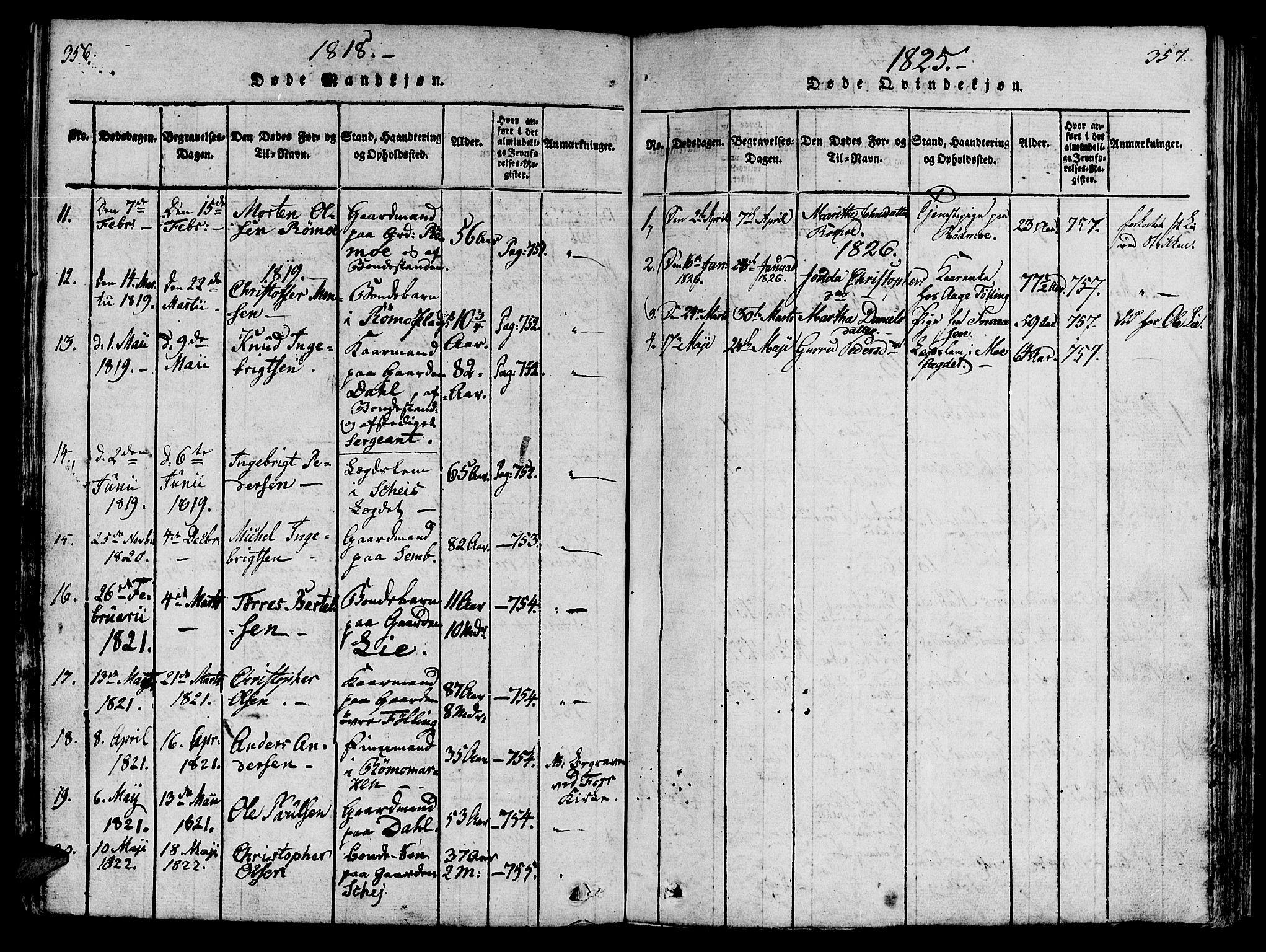 SAT, Ministerialprotokoller, klokkerbøker og fødselsregistre - Nord-Trøndelag, 746/L0441: Ministerialbok nr. 746A03 /4, 1816-1827, s. 356-357
