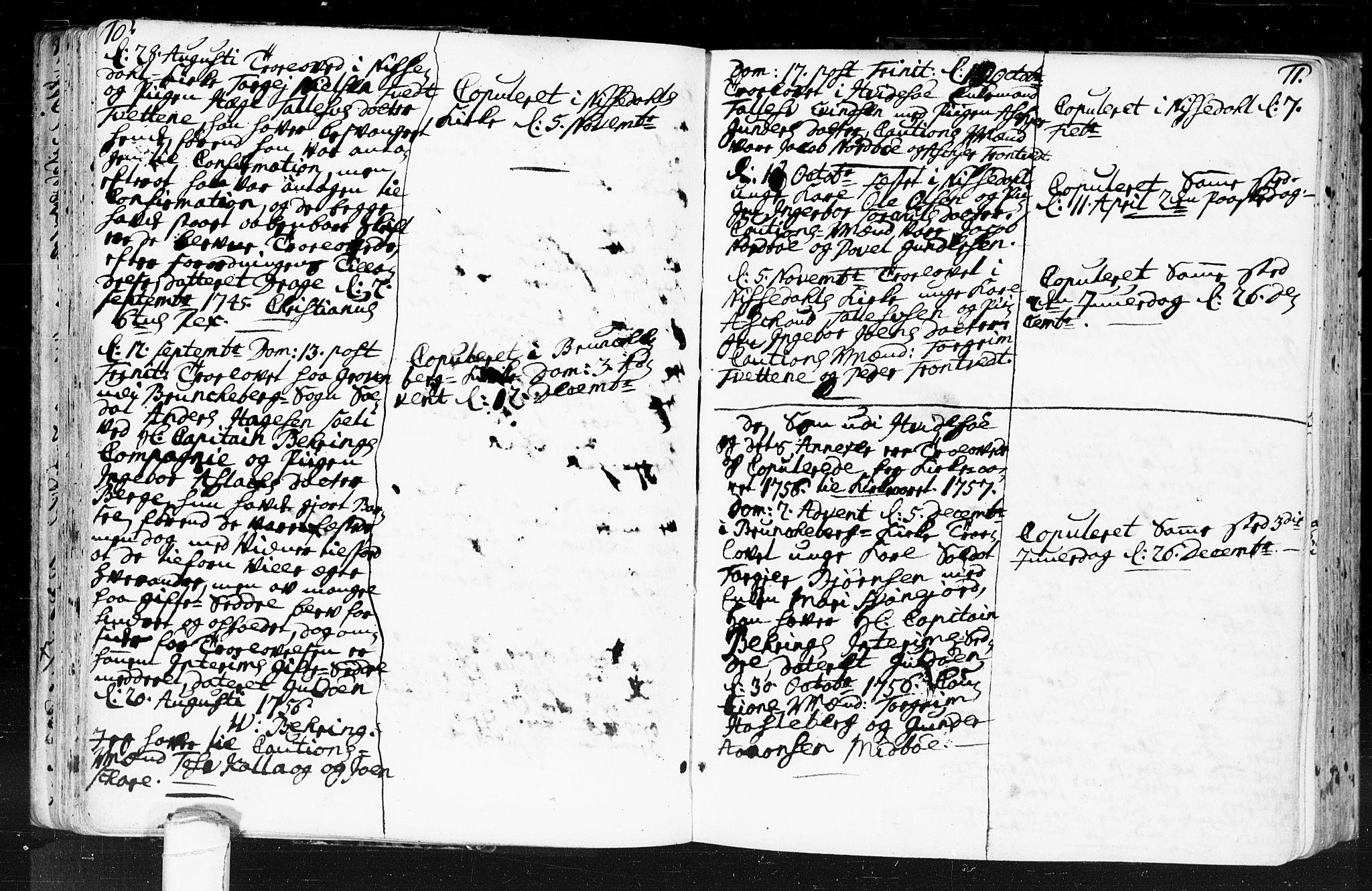 SAKO, Kviteseid kirkebøker, F/Fa/L0001: Ministerialbok nr. I 1, 1754-1773, s. 10-11