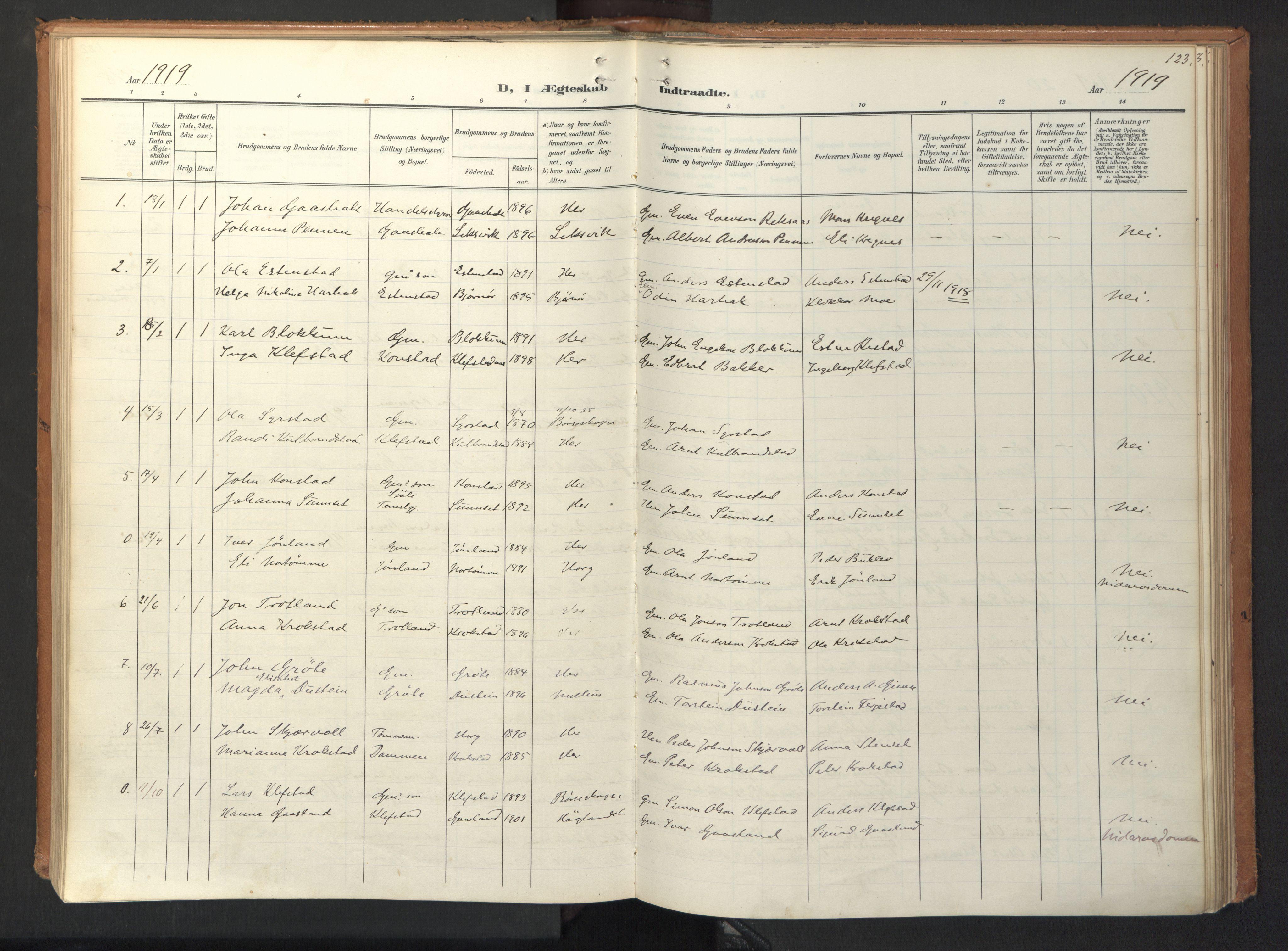 SAT, Ministerialprotokoller, klokkerbøker og fødselsregistre - Sør-Trøndelag, 694/L1128: Ministerialbok nr. 694A02, 1906-1931, s. 123