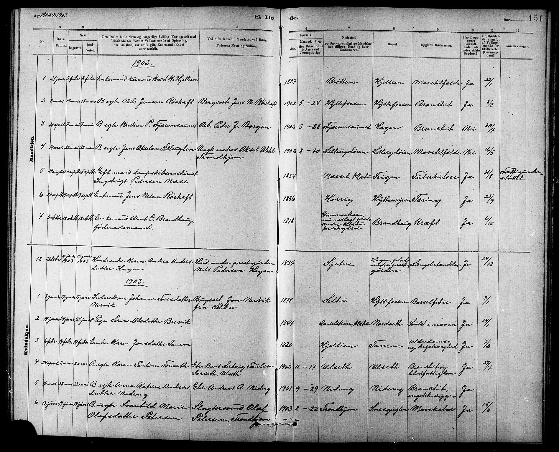 SAT, Ministerialprotokoller, klokkerbøker og fødselsregistre - Sør-Trøndelag, 618/L0452: Klokkerbok nr. 618C03, 1884-1906, s. 151