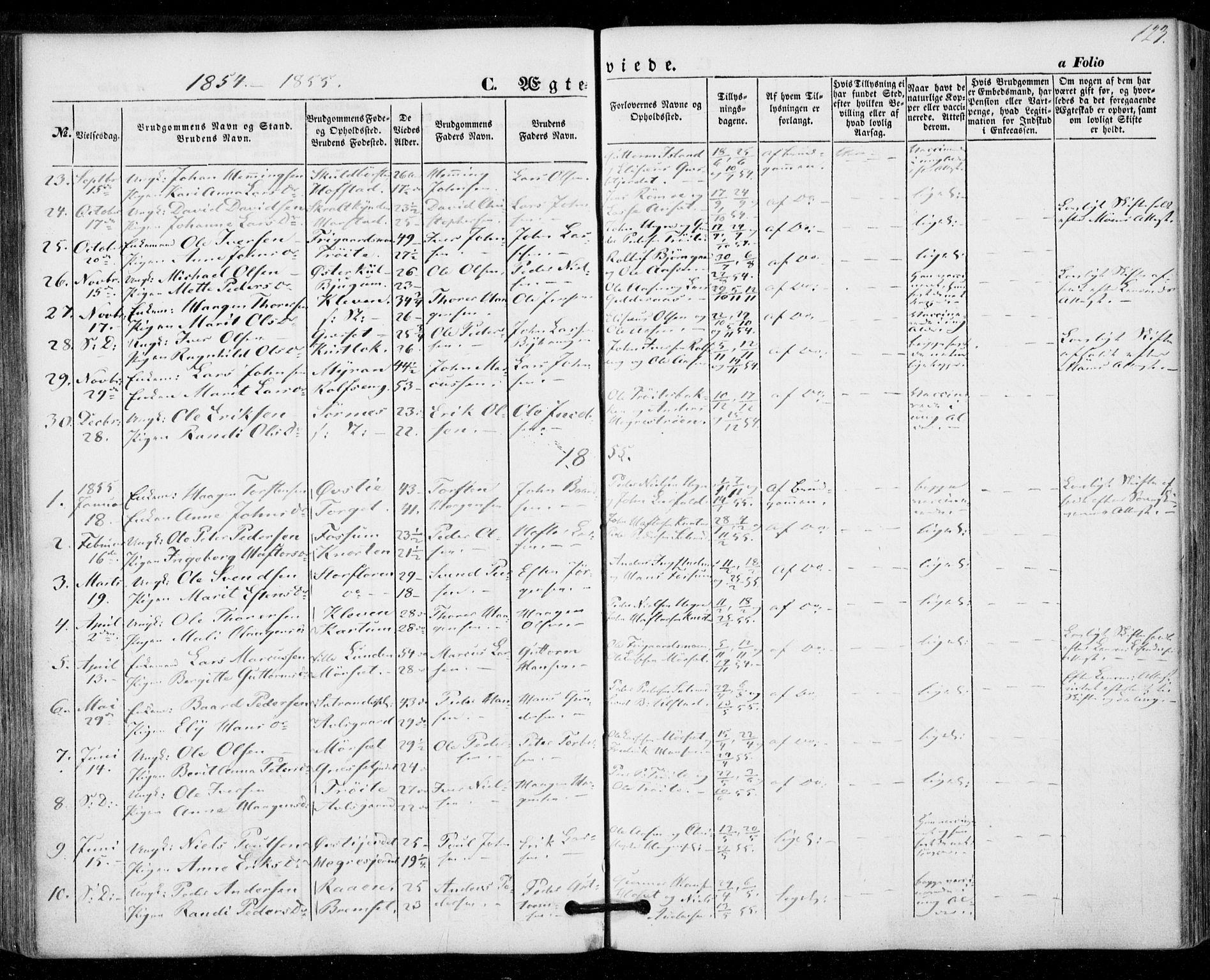 SAT, Ministerialprotokoller, klokkerbøker og fødselsregistre - Nord-Trøndelag, 703/L0028: Ministerialbok nr. 703A01, 1850-1862, s. 123