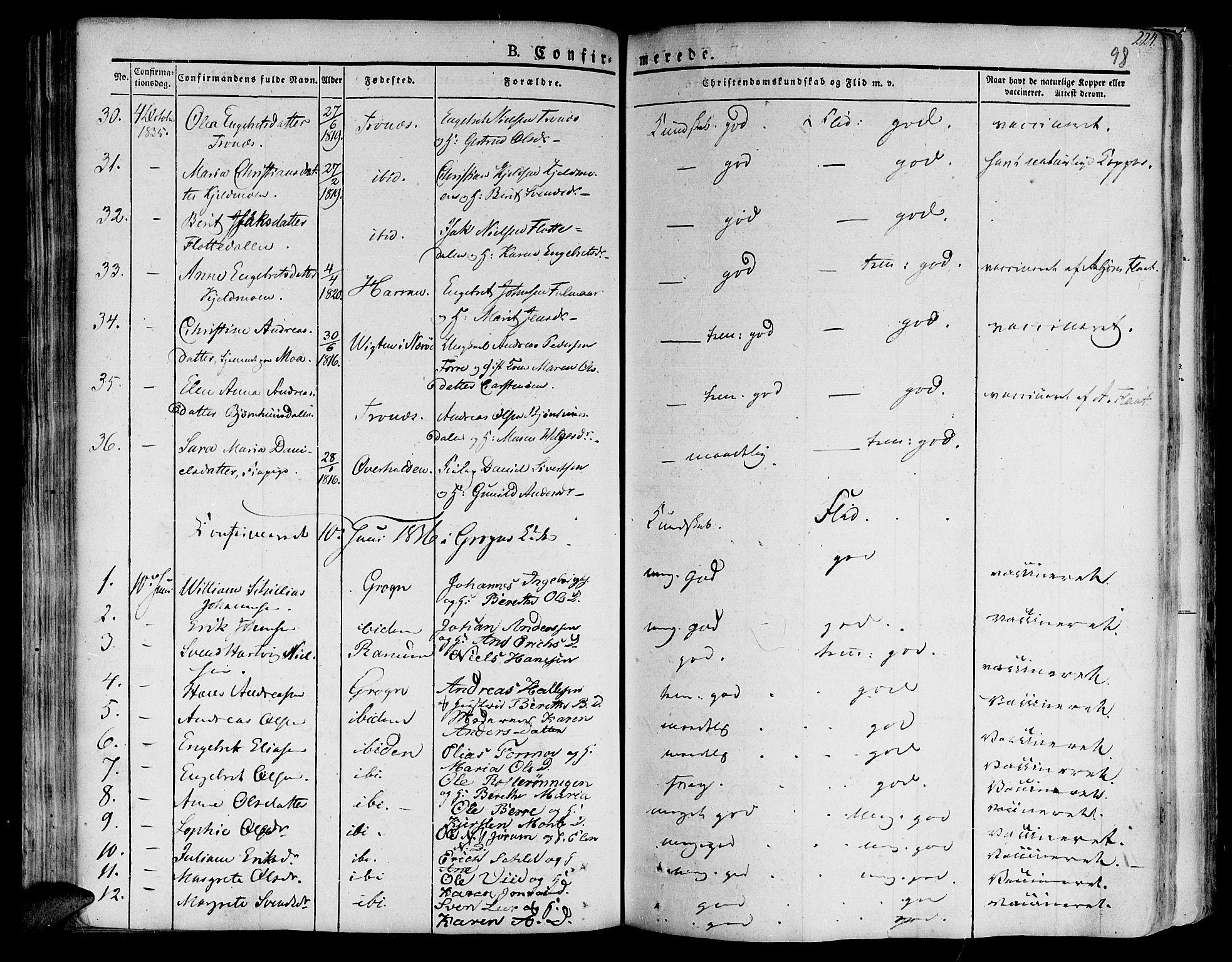 SAT, Ministerialprotokoller, klokkerbøker og fødselsregistre - Nord-Trøndelag, 758/L0510: Ministerialbok nr. 758A01 /1, 1821-1841, s. 98