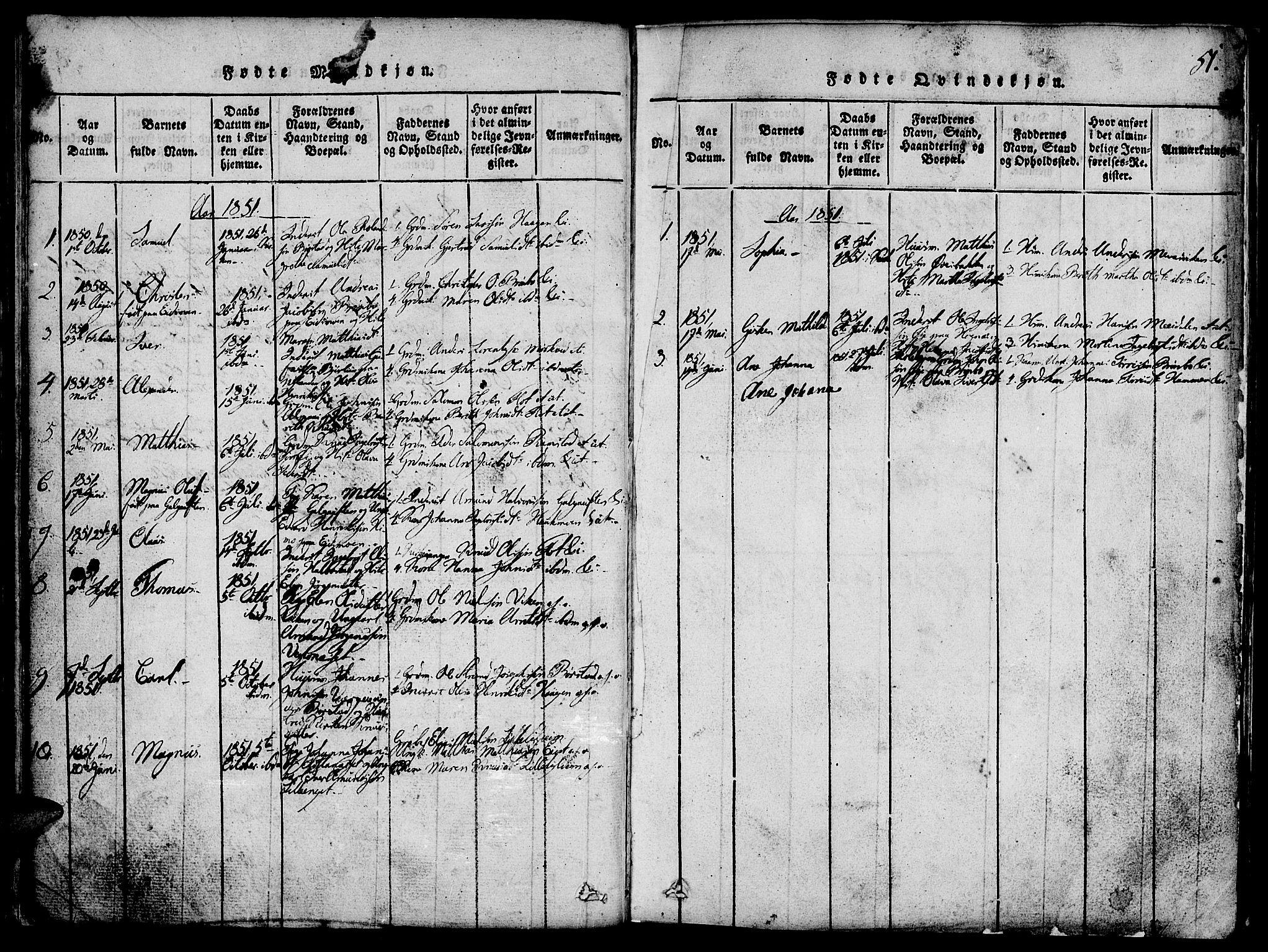 SAT, Ministerialprotokoller, klokkerbøker og fødselsregistre - Nord-Trøndelag, 765/L0562: Klokkerbok nr. 765C01, 1817-1851, s. 51