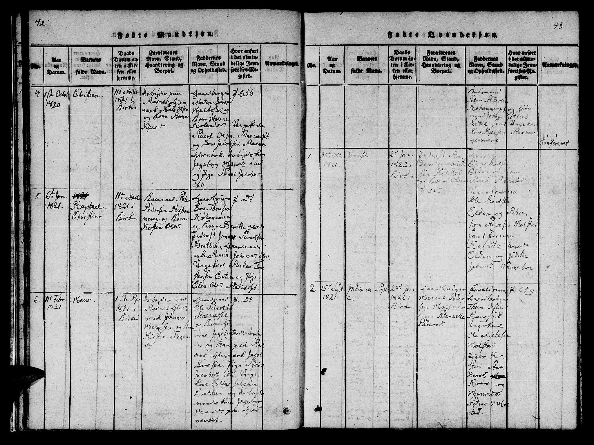 SAT, Ministerialprotokoller, klokkerbøker og fødselsregistre - Nord-Trøndelag, 742/L0411: Klokkerbok nr. 742C02, 1817-1825, s. 42-43