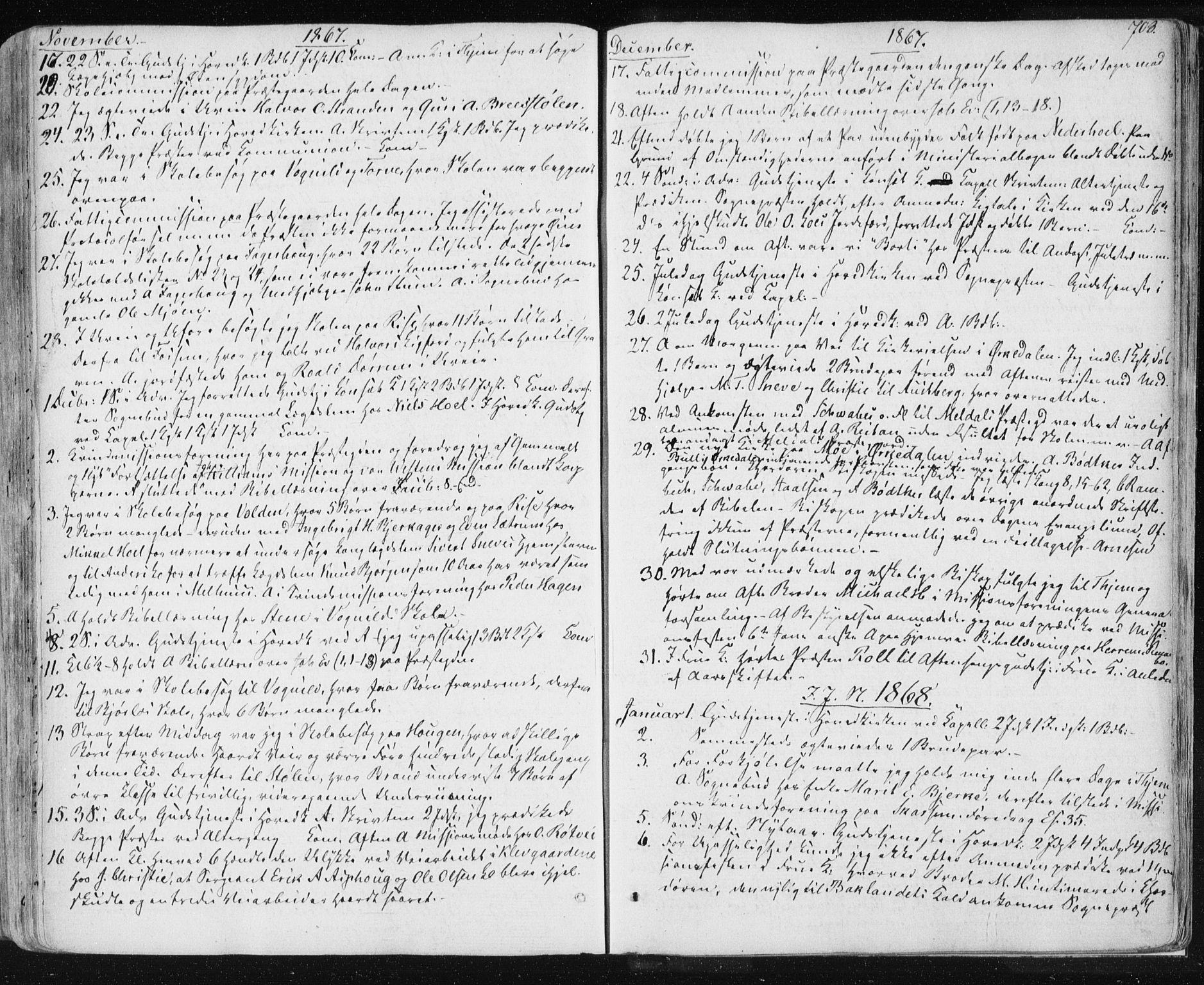 SAT, Ministerialprotokoller, klokkerbøker og fødselsregistre - Sør-Trøndelag, 678/L0899: Ministerialbok nr. 678A08, 1848-1872, s. 703