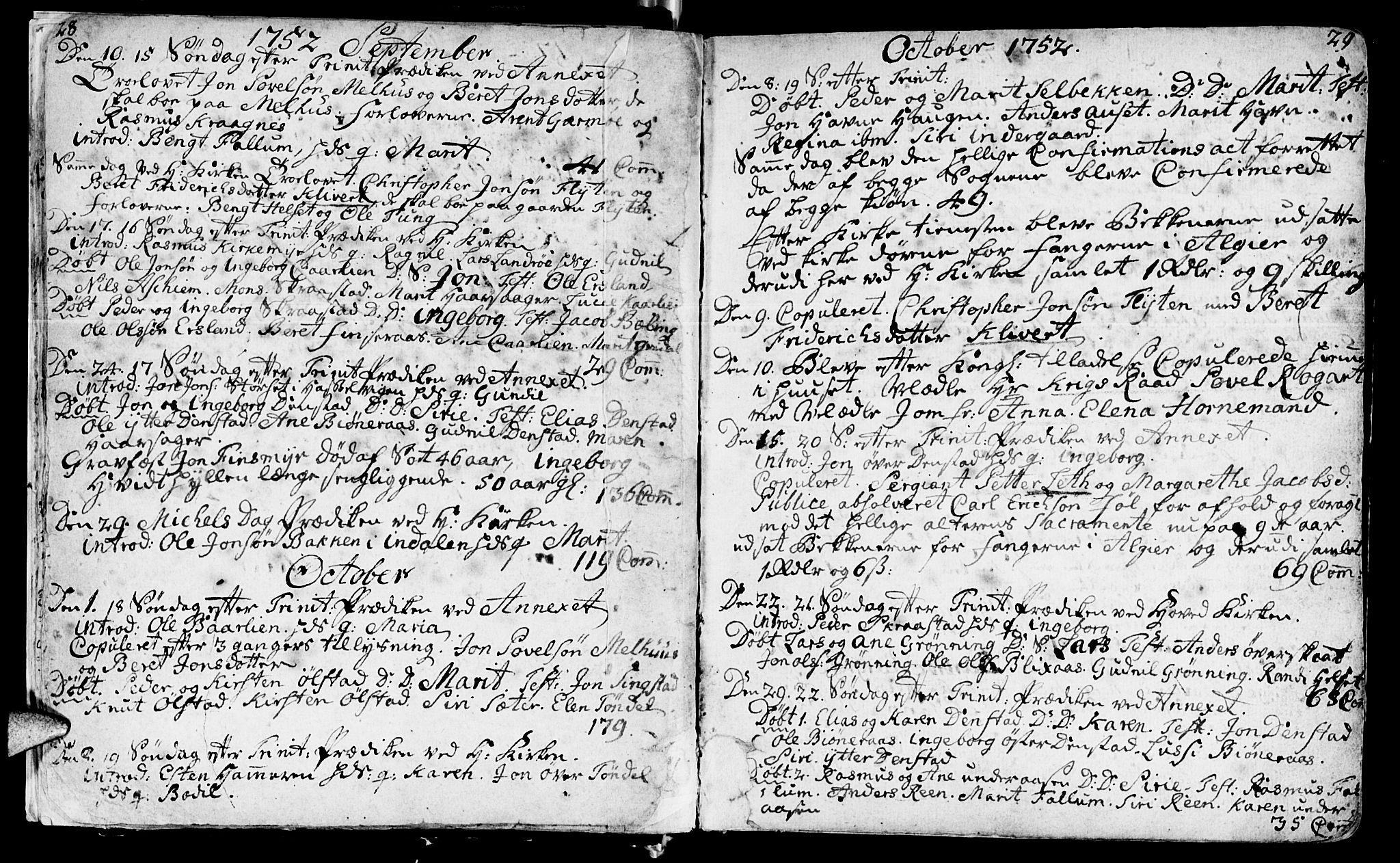 SAT, Ministerialprotokoller, klokkerbøker og fødselsregistre - Sør-Trøndelag, 646/L0605: Ministerialbok nr. 646A03, 1751-1790, s. 28-29