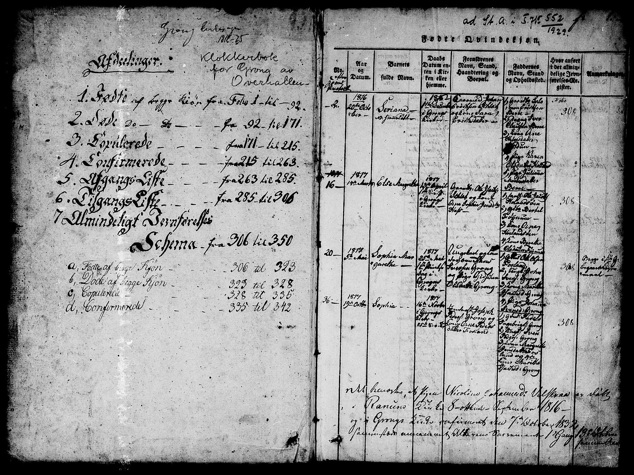 SAT, Ministerialprotokoller, klokkerbøker og fødselsregistre - Nord-Trøndelag, 758/L0521: Klokkerbok nr. 758C01, 1816-1825, s. 1