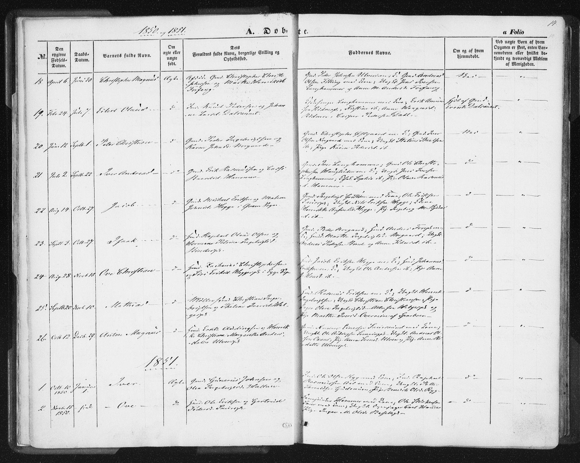 SAT, Ministerialprotokoller, klokkerbøker og fødselsregistre - Nord-Trøndelag, 746/L0446: Ministerialbok nr. 746A05, 1846-1859, s. 14