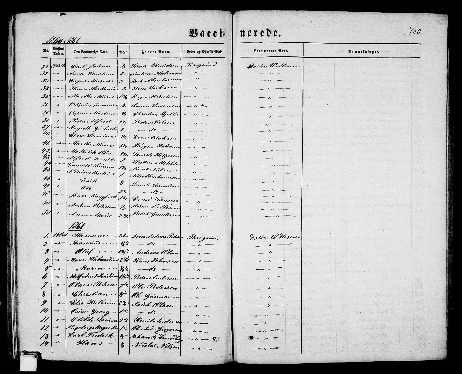 SAKO, Porsgrunn kirkebøker , G/Gb/L0004: Klokkerbok nr. II 4, 1853-1882, s. 700