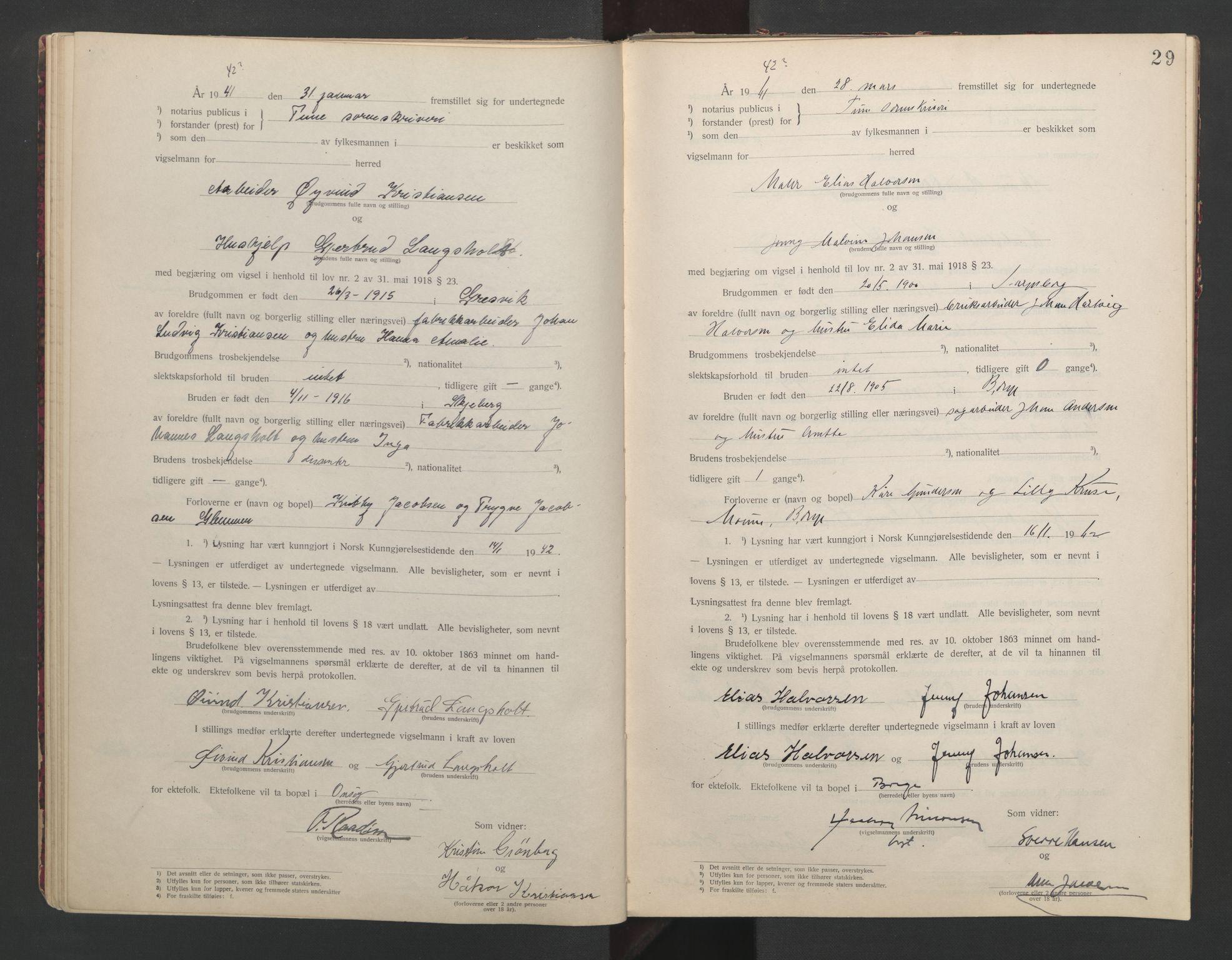 SAO, Tune sorenskriveri, L/Lb/L0001: Vigselprotokoll, 1923-1943, s. 29