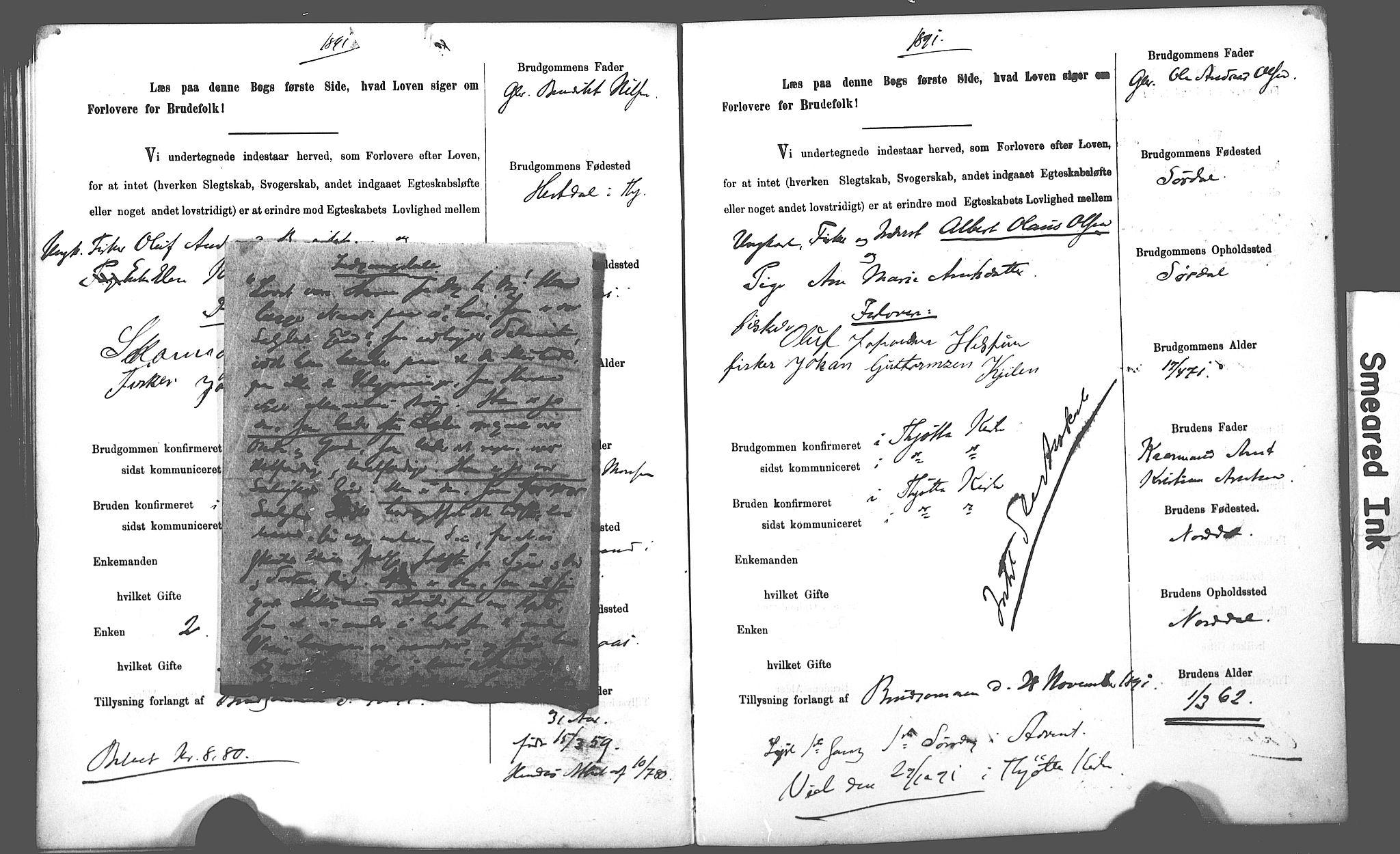 SAT, Uten arkivreferanse**, Lysningsprotokoll nr. 1 /2 (Trøgstad), 1891-1895