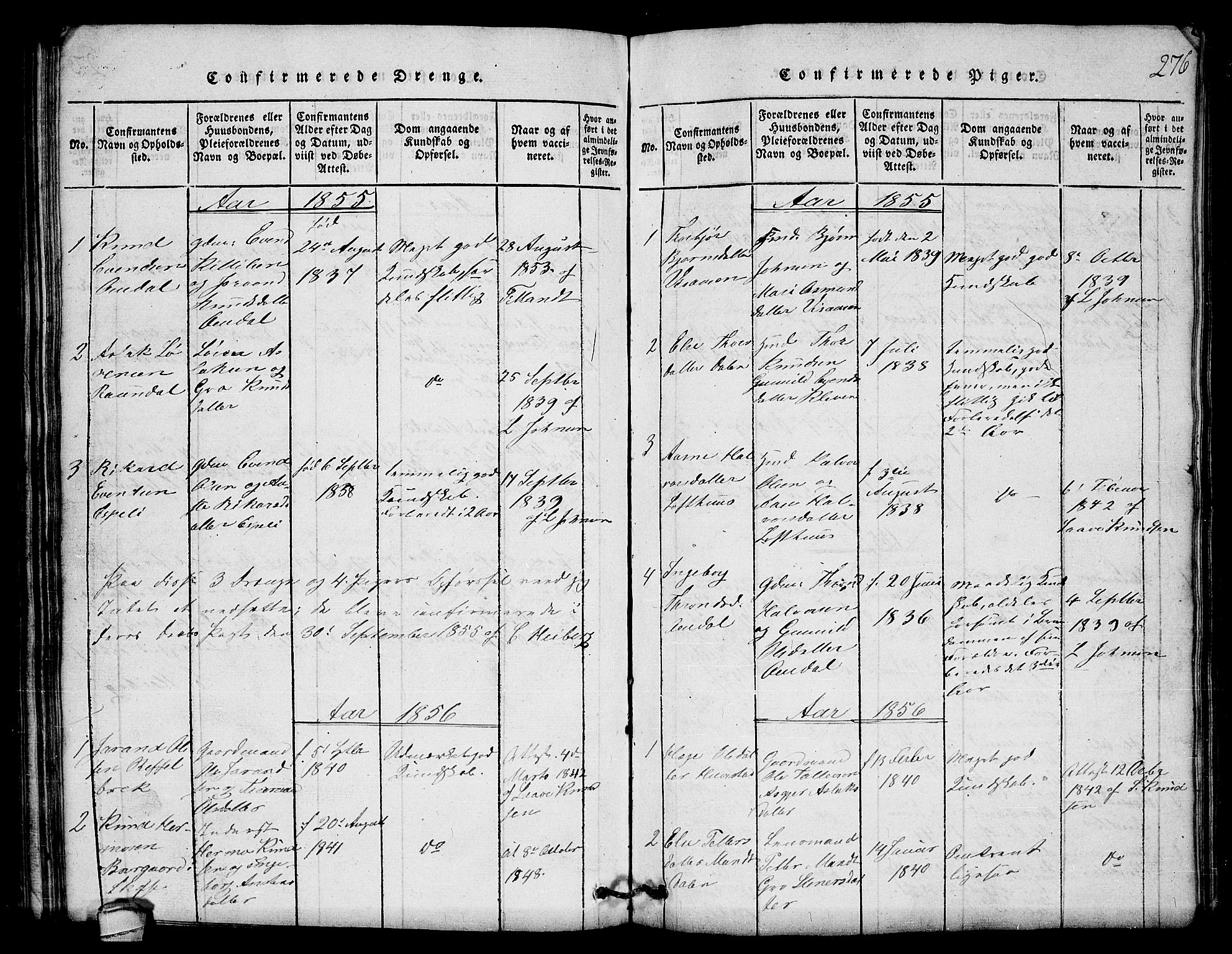 SAKO, Lårdal kirkebøker, G/Gb/L0001: Klokkerbok nr. II 1, 1815-1865, s. 276