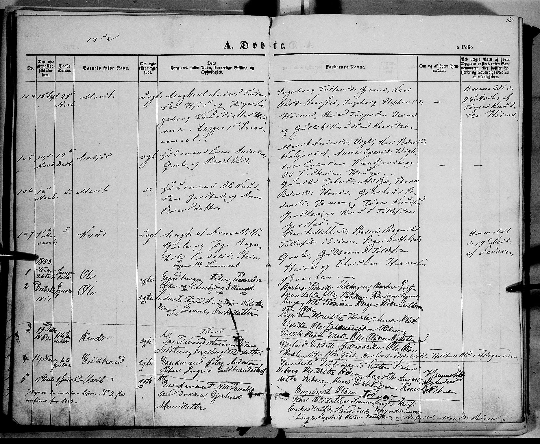 SAH, Vestre Slidre prestekontor, Ministerialbok nr. 1, 1844-1855, s. 55