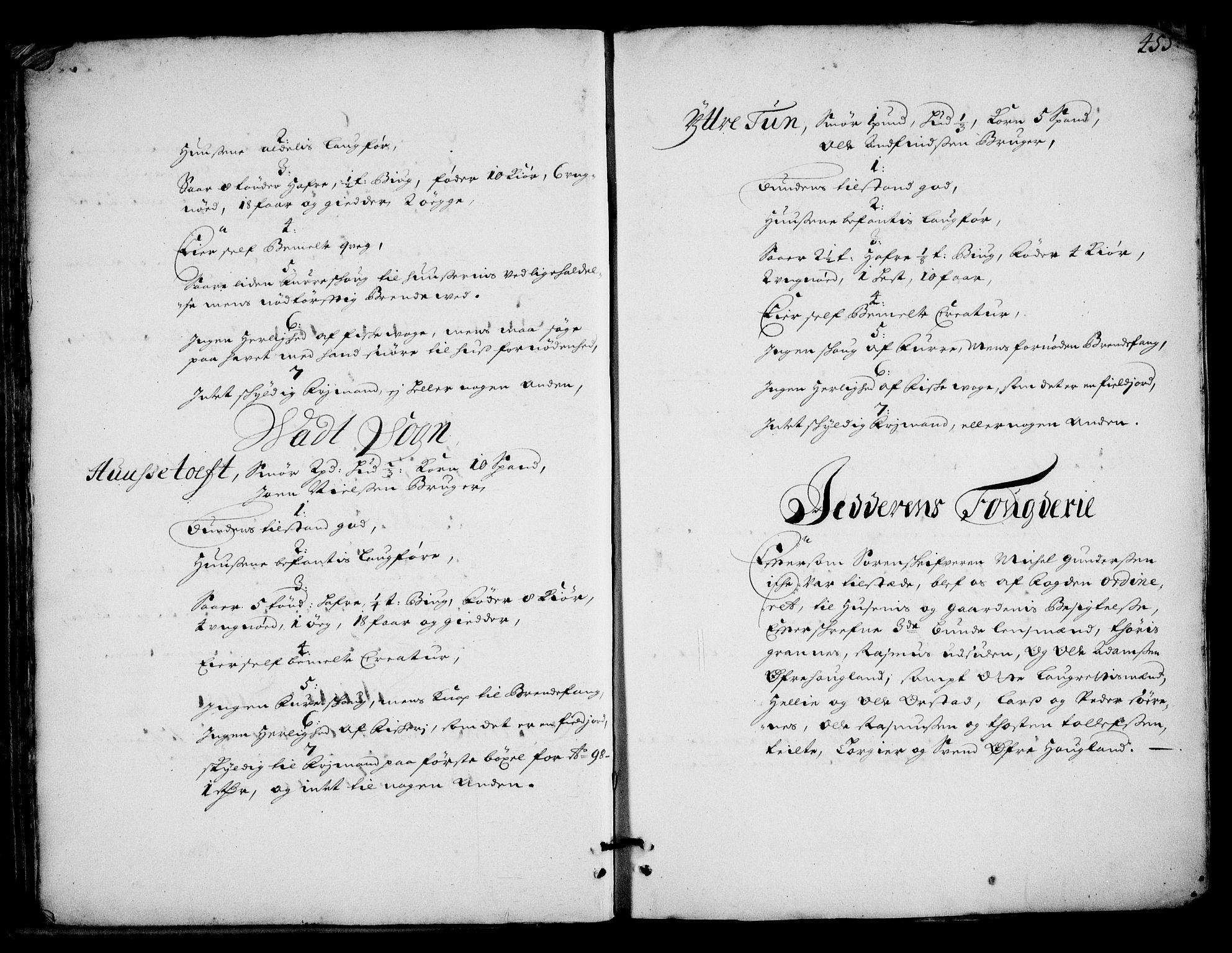 RA, Rentekammeret inntil 1814, Realistisk ordnet avdeling, On/L0002: [Jj 3]: Besiktigelsesforretninger over Halsnøy klosters gods, 1659-1703, s. 454b-455a