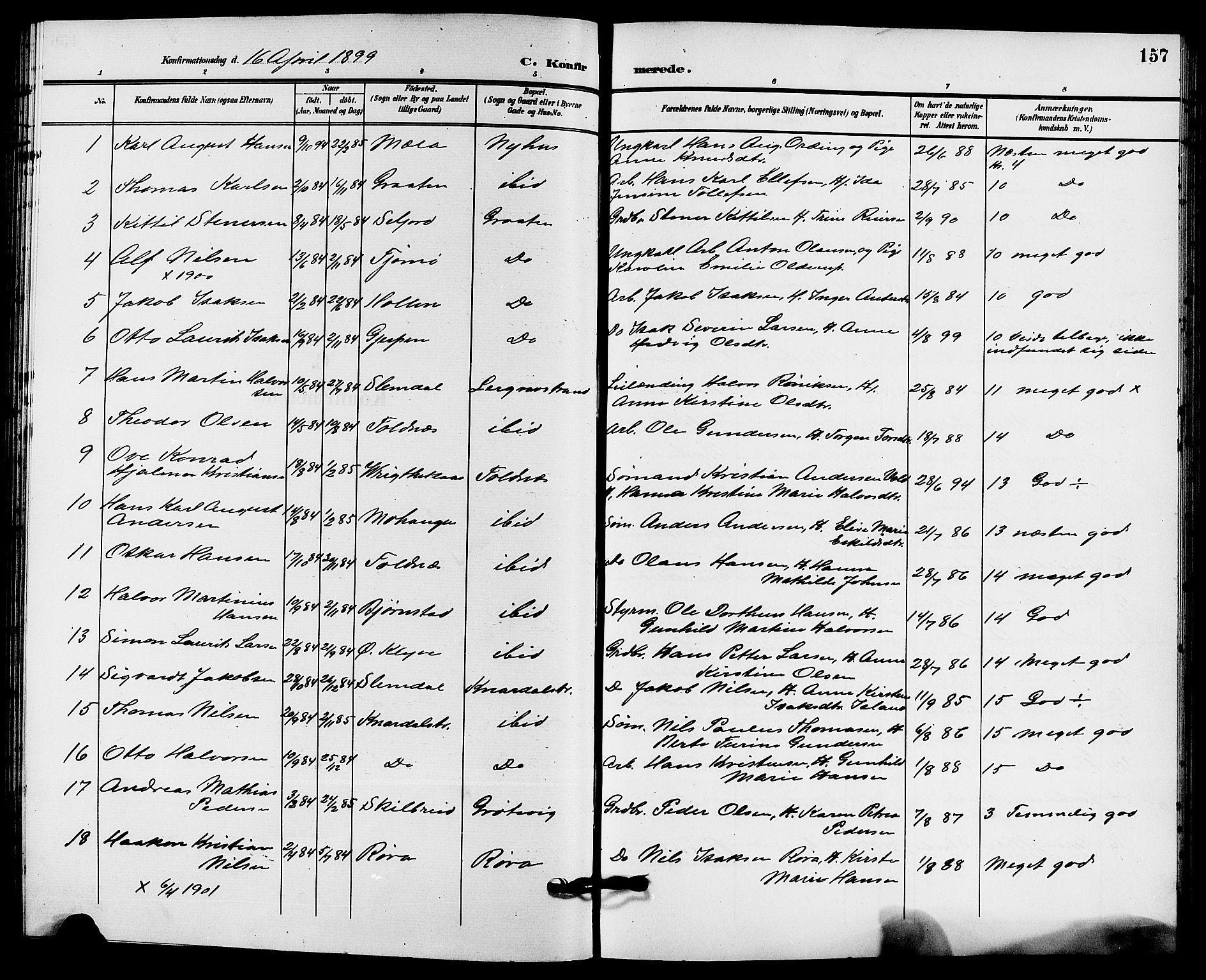 SAKO, Solum kirkebøker, G/Ga/L0008: Klokkerbok nr. I 8, 1898-1909, s. 157