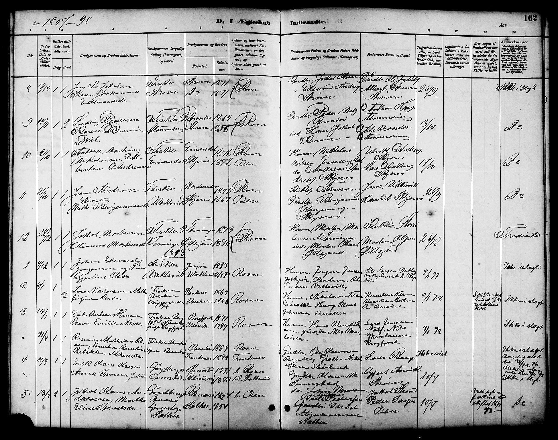 SAT, Ministerialprotokoller, klokkerbøker og fødselsregistre - Sør-Trøndelag, 657/L0716: Klokkerbok nr. 657C03, 1889-1904, s. 162