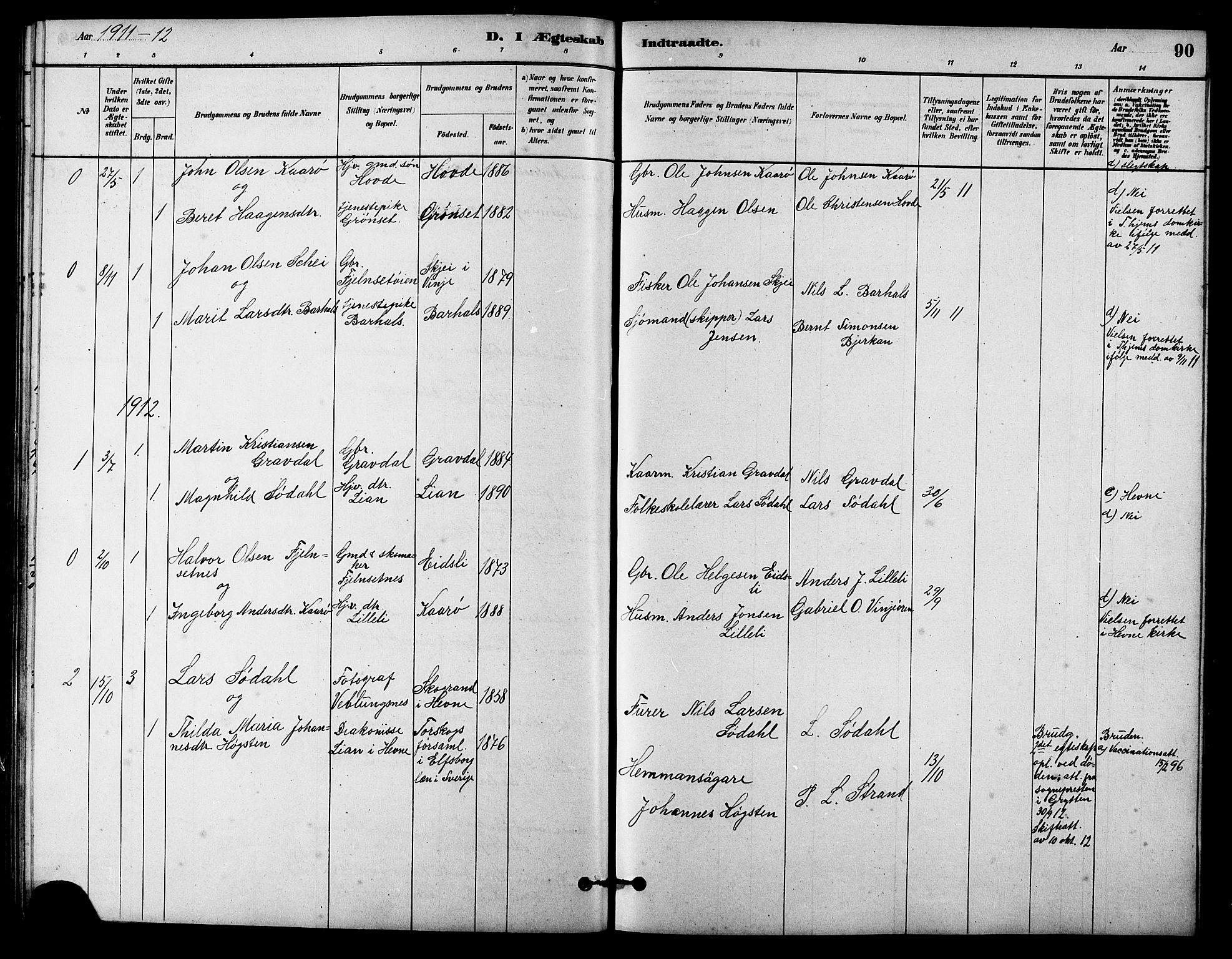 SAT, Ministerialprotokoller, klokkerbøker og fødselsregistre - Sør-Trøndelag, 631/L0514: Klokkerbok nr. 631C02, 1879-1912, s. 90