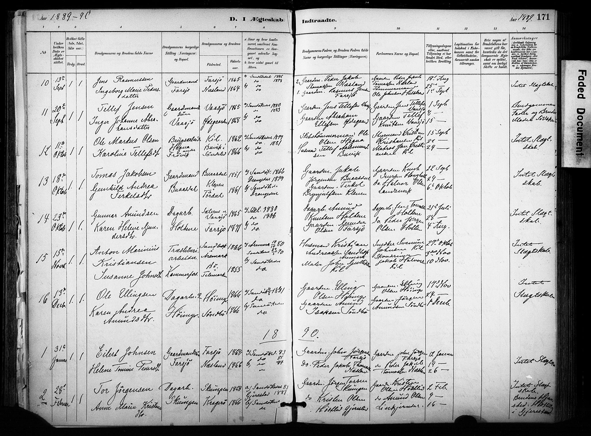 SAKO, Sannidal kirkebøker, F/Fa/L0015: Ministerialbok nr. 15, 1884-1899, s. 171