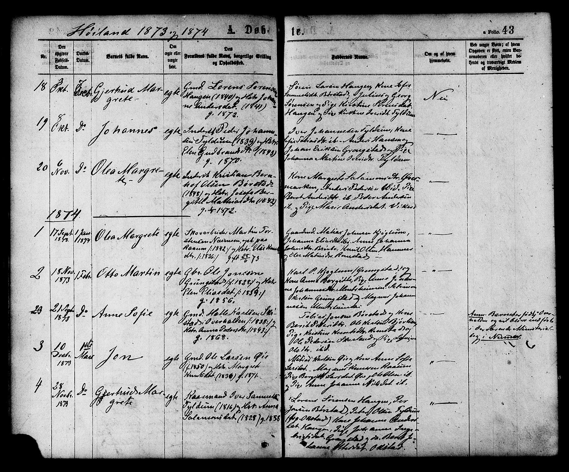 SAT, Ministerialprotokoller, klokkerbøker og fødselsregistre - Nord-Trøndelag, 758/L0516: Ministerialbok nr. 758A03 /2, 1869-1879, s. 43