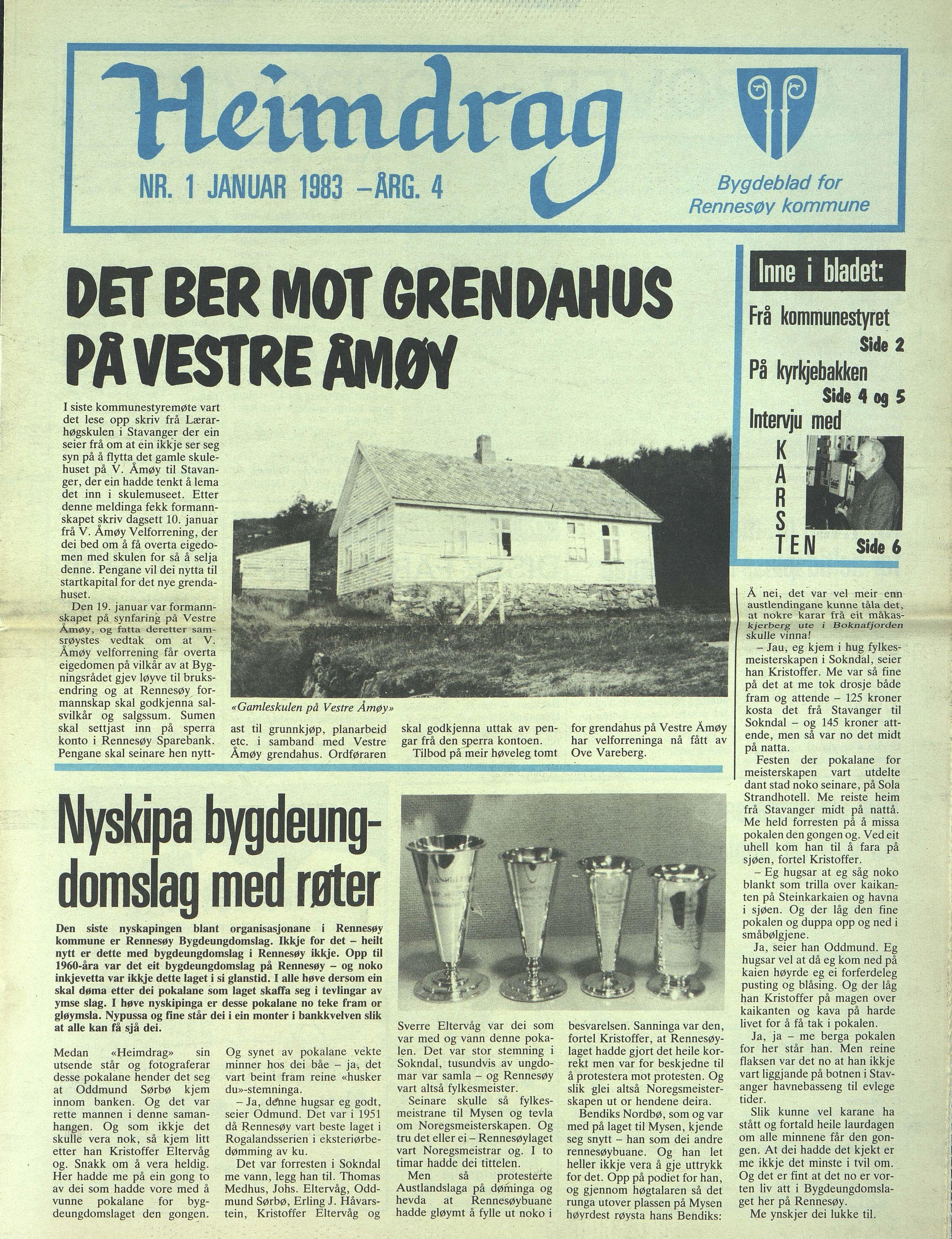 BYST, Rennesøy kommune. Heimdrag, lokalavis, X/Xa/L0005: Heimdrag 1983, 1983