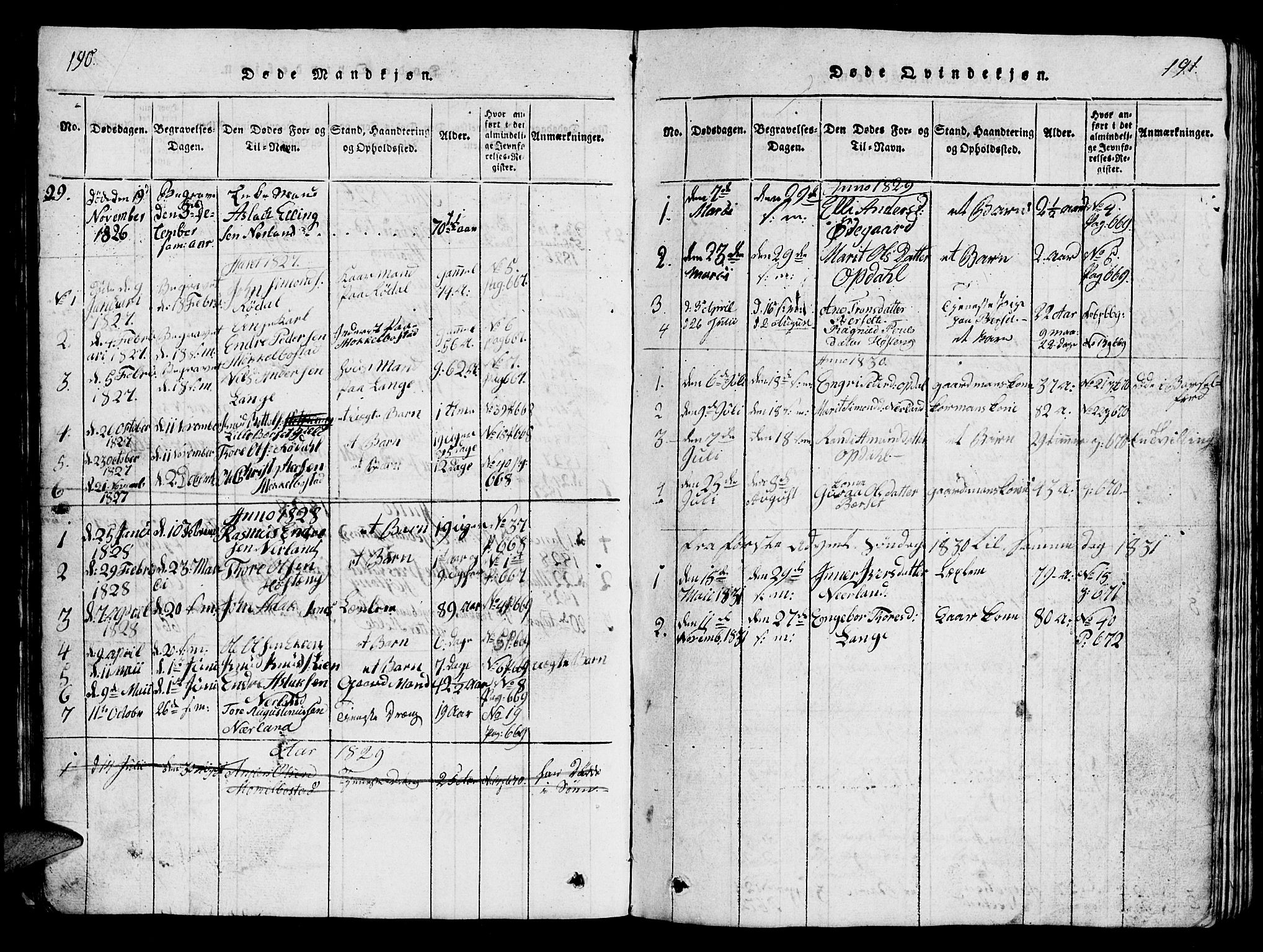 SAT, Ministerialprotokoller, klokkerbøker og fødselsregistre - Møre og Romsdal, 554/L0644: Klokkerbok nr. 554C01, 1818-1851, s. 190-191