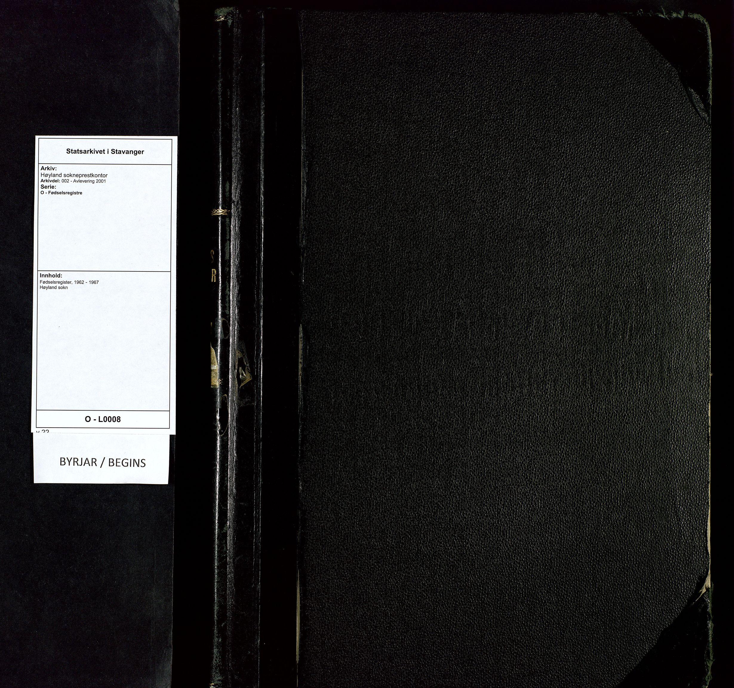 SAST, Høyland sokneprestkontor, O/L0008: Fødselsregister nr. 8, 1962-1967