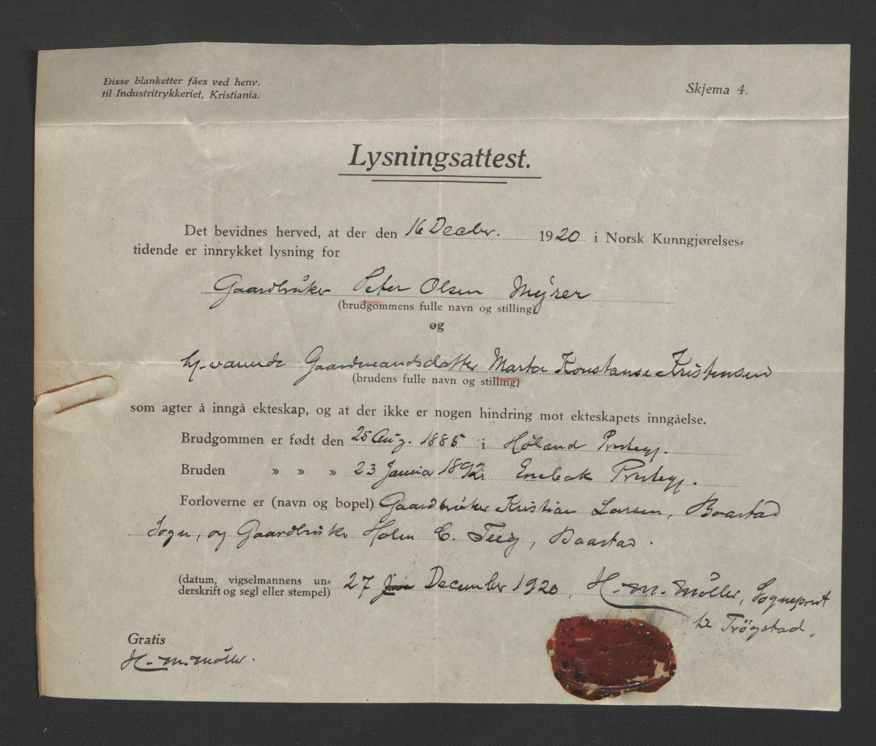 SAO, Rakkestad sorenskriveri, L/Lc/Lca/L0001: Vigselbøker, 1920-1942, s. upaginert