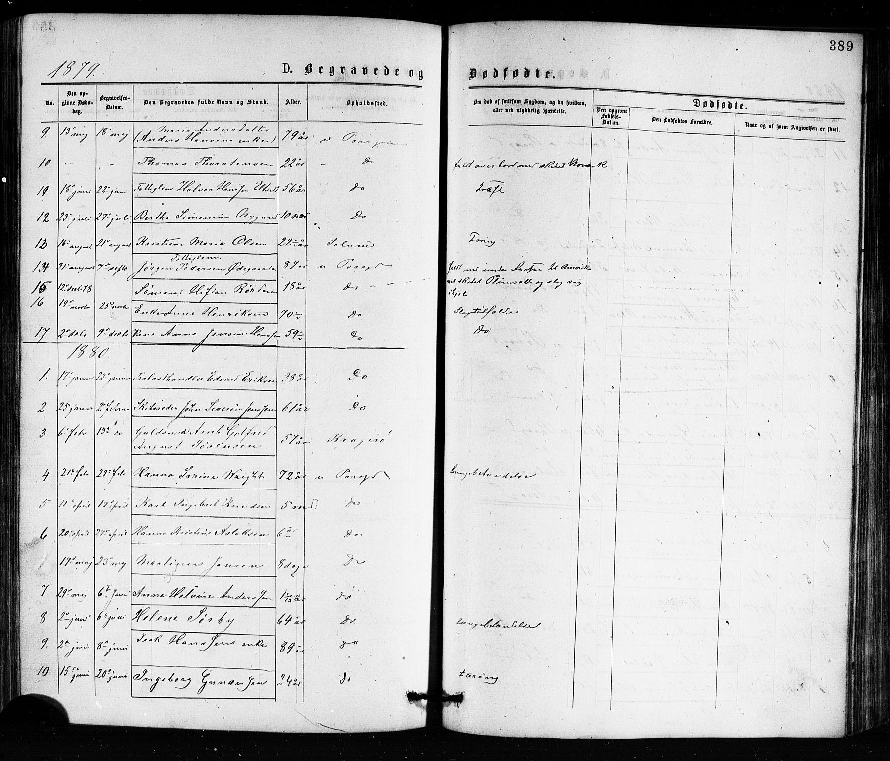 SAKO, Porsgrunn kirkebøker , G/Ga/L0003: Klokkerbok nr. I 3, 1877-1915, s. 389