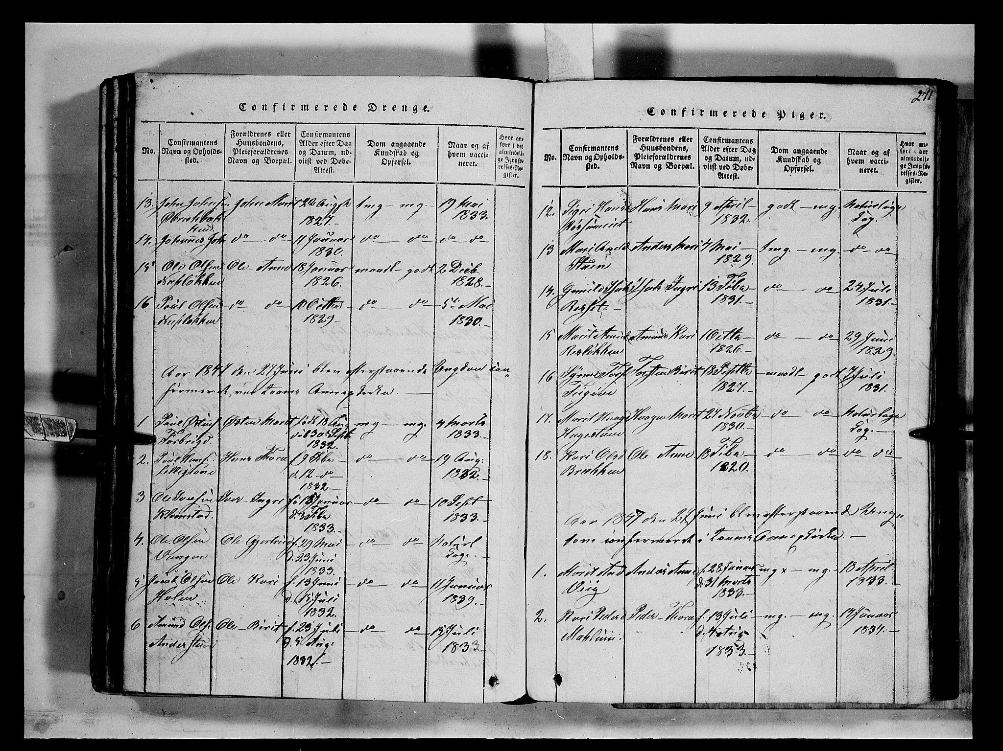 SAH, Fron prestekontor, H/Ha/Hab/L0002: Klokkerbok nr. 2, 1816-1850, s. 271